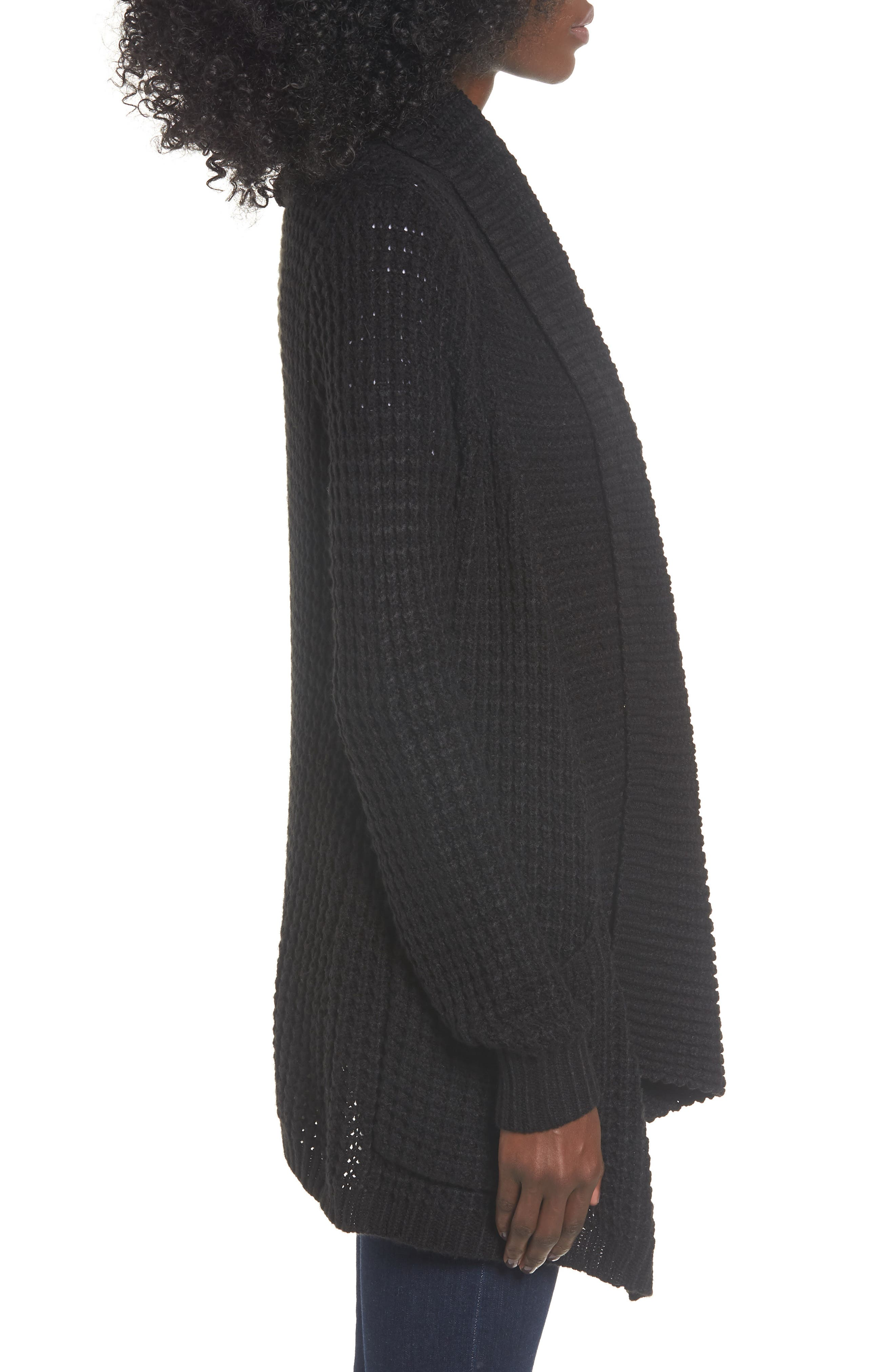Shambala Knit Cardigan,                             Alternate thumbnail 3, color,                             BLACK