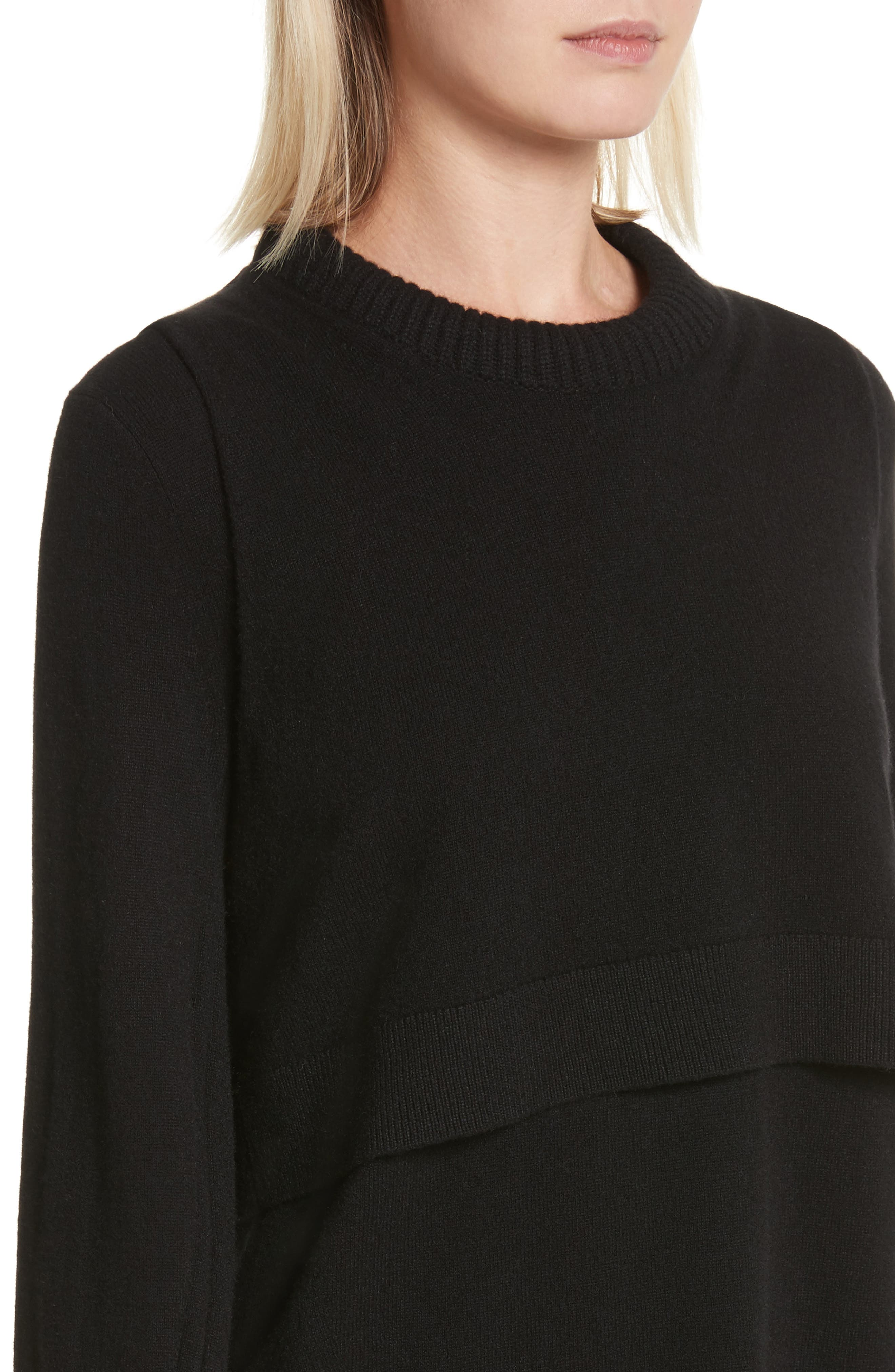 Preston Cashmere Crewneck Sweater,                             Alternate thumbnail 4, color,                             001