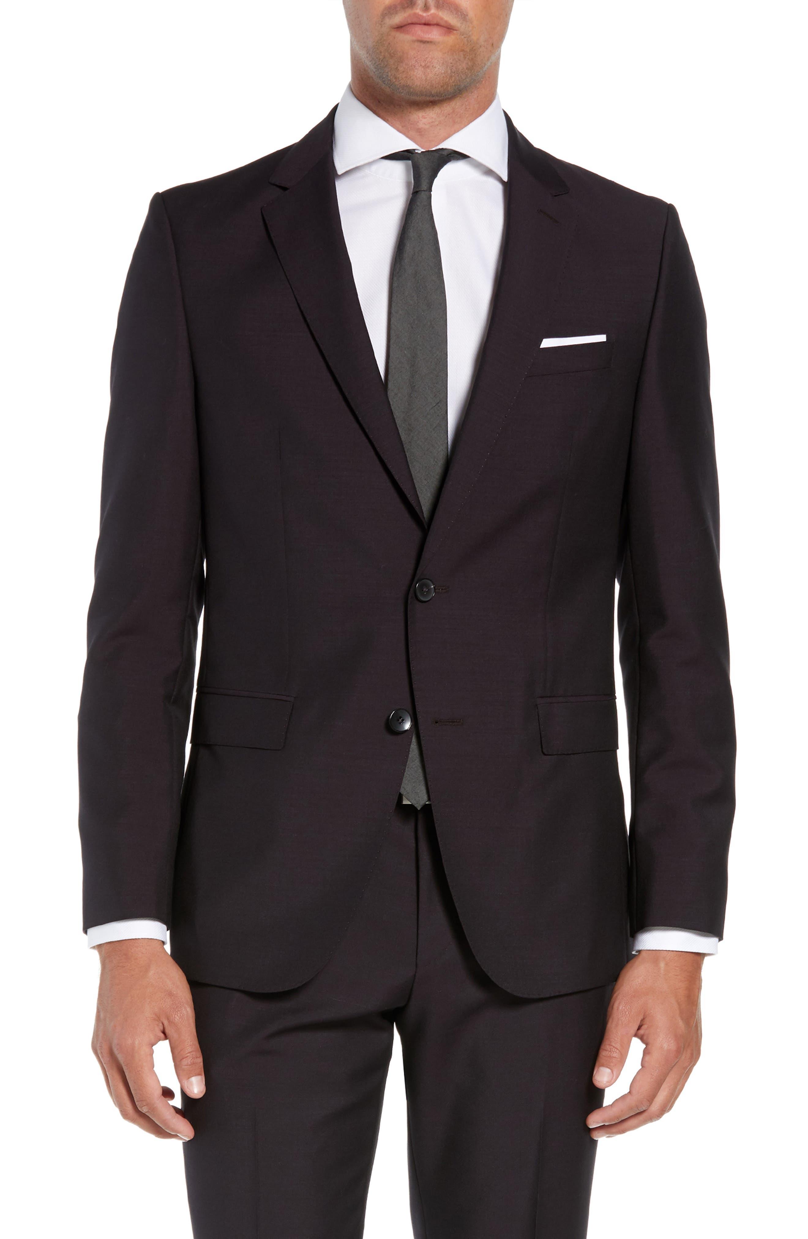 Novan/Ben Trim Fit Solid Wool & Mohair Suit,                             Alternate thumbnail 5, color,                             DARK PURPLE