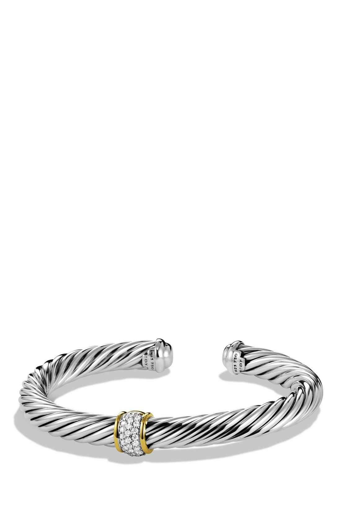 Cable Classics Bracelet with Diamonds & 18K Gold, 7mm,                             Main thumbnail 1, color,                             DIAMOND