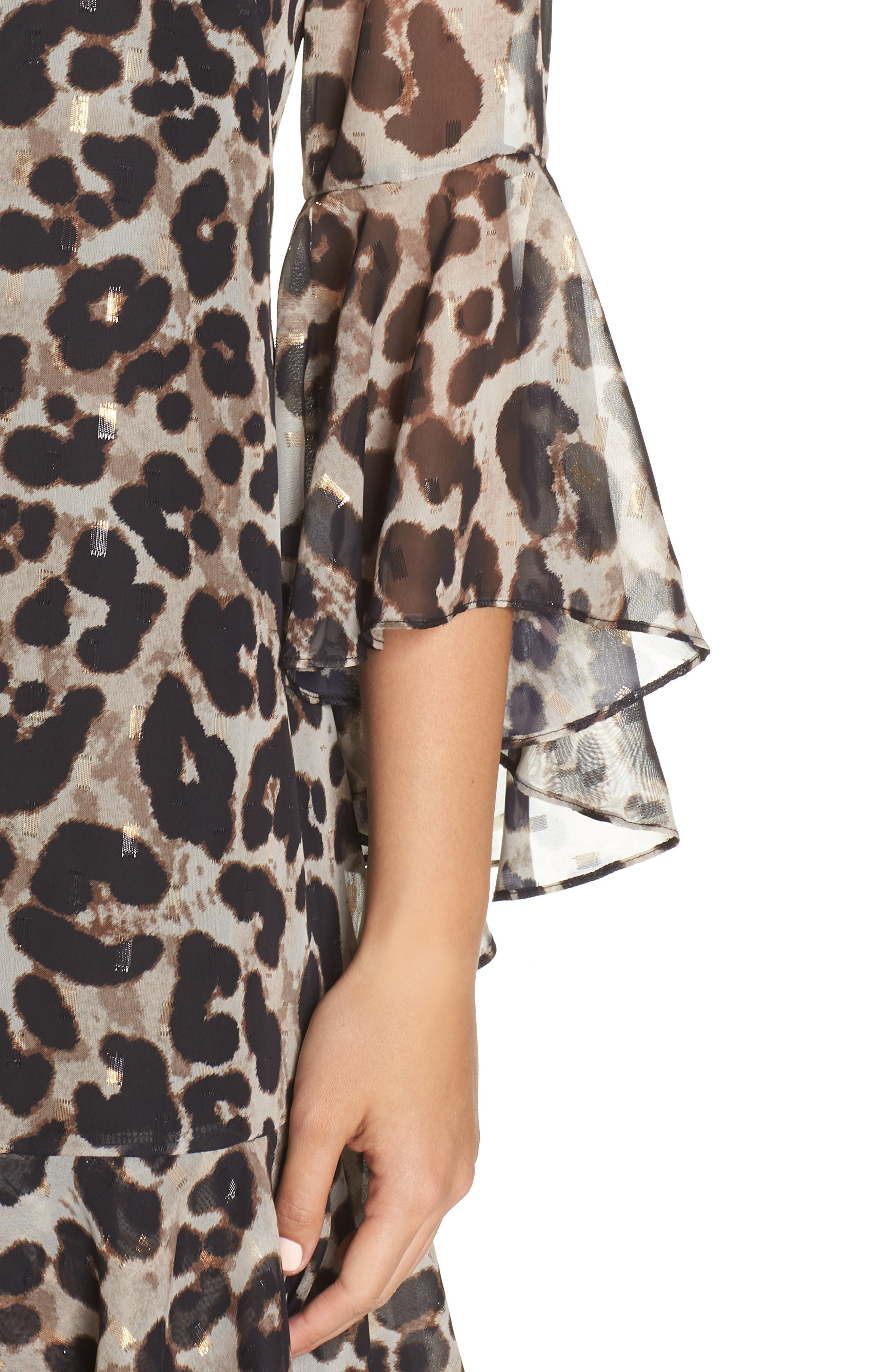 Bell Sleeve Flounce Dress,                             Alternate thumbnail 4, color,                             ANIMAL