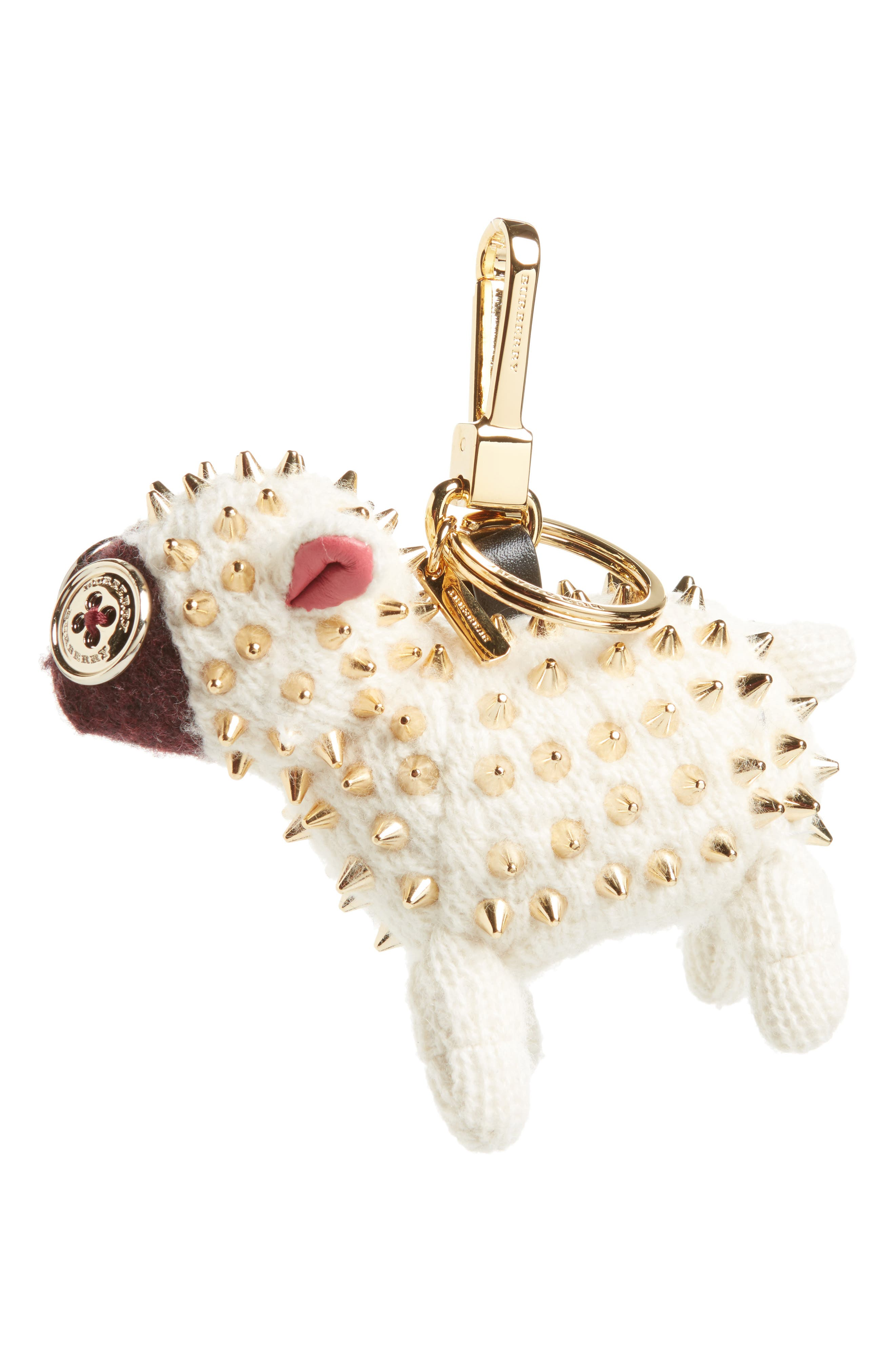 Wendy the Sheep Studded Cashmere Bag Charm,                         Main,                         color, 100