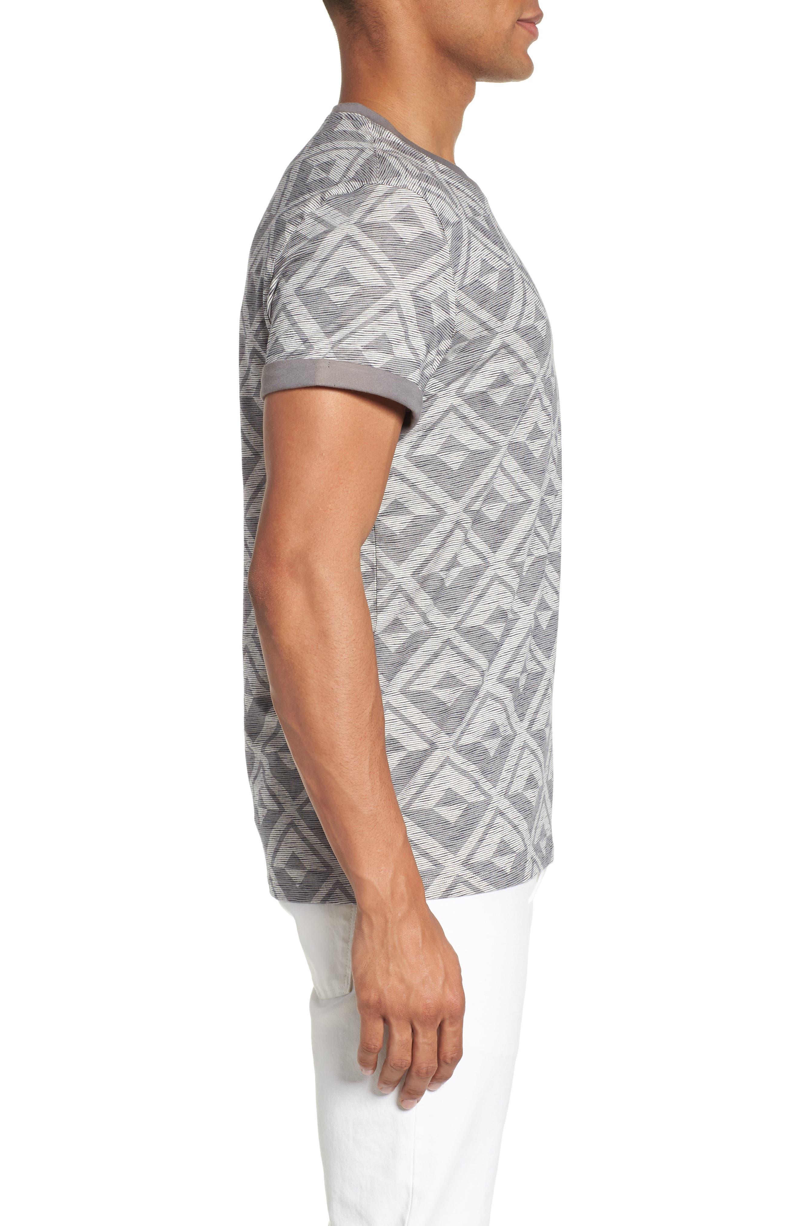 Geometric Crewneck T-Shirt,                             Alternate thumbnail 3, color,                             021