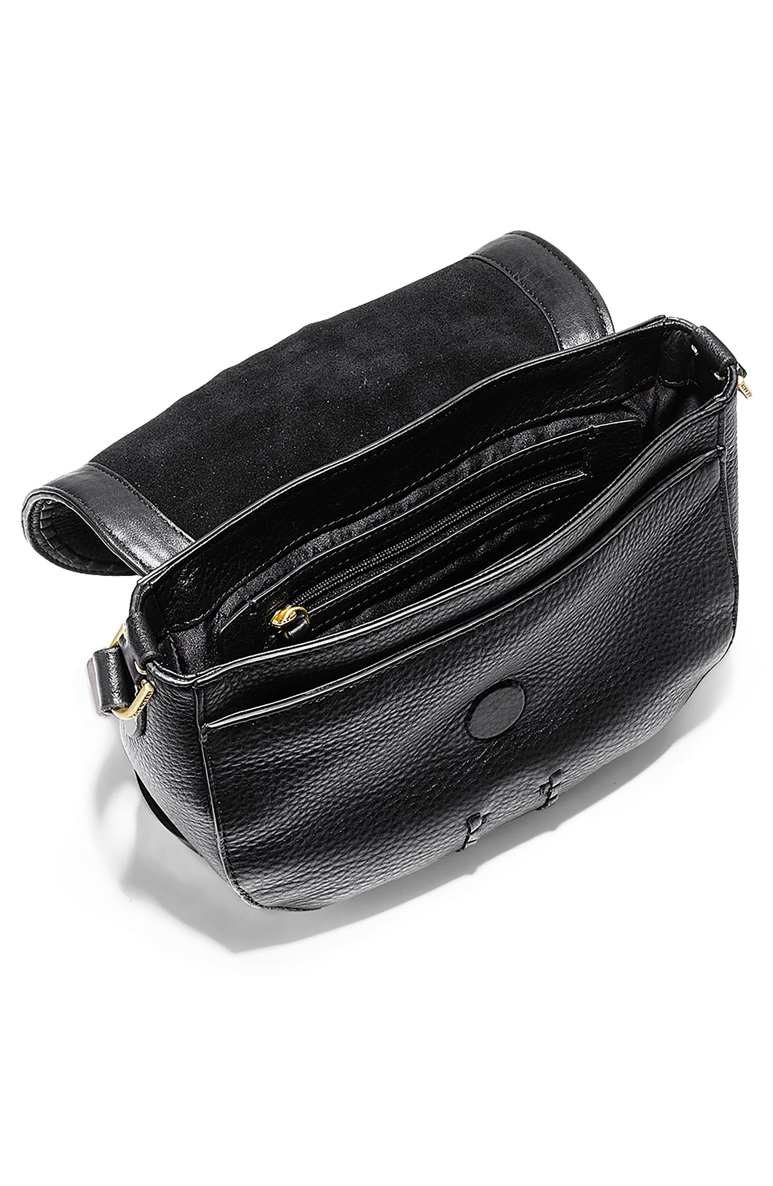 Mini Loralie Whipstitch Leather Saddle Bag,                             Alternate thumbnail 3, color,                             001