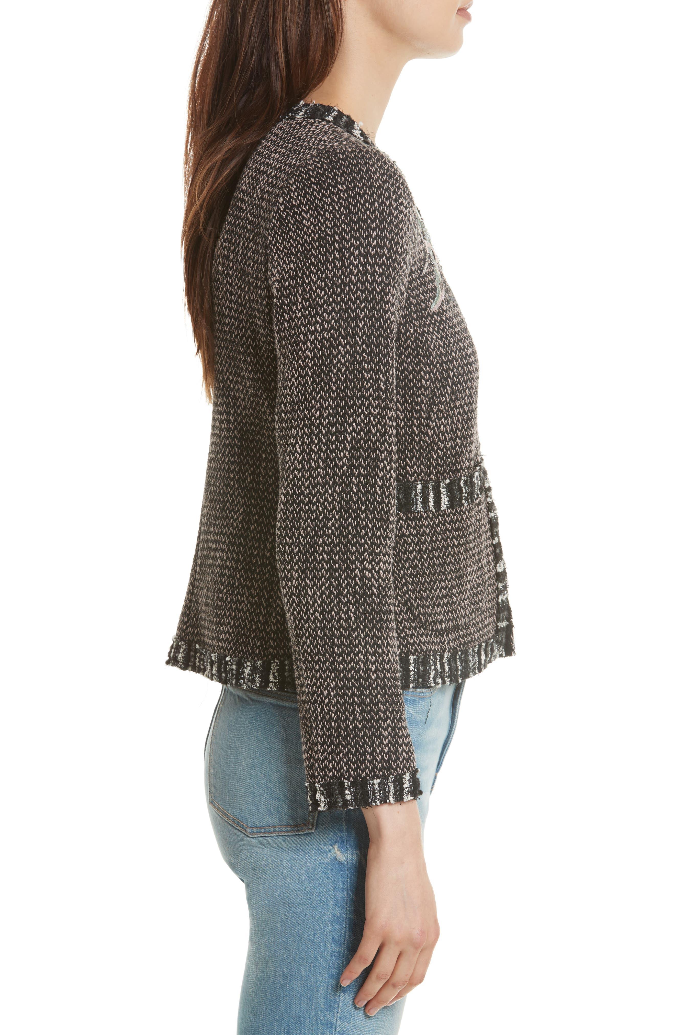 Embellished Multi Tweed Jacket,                             Alternate thumbnail 3, color,                             014