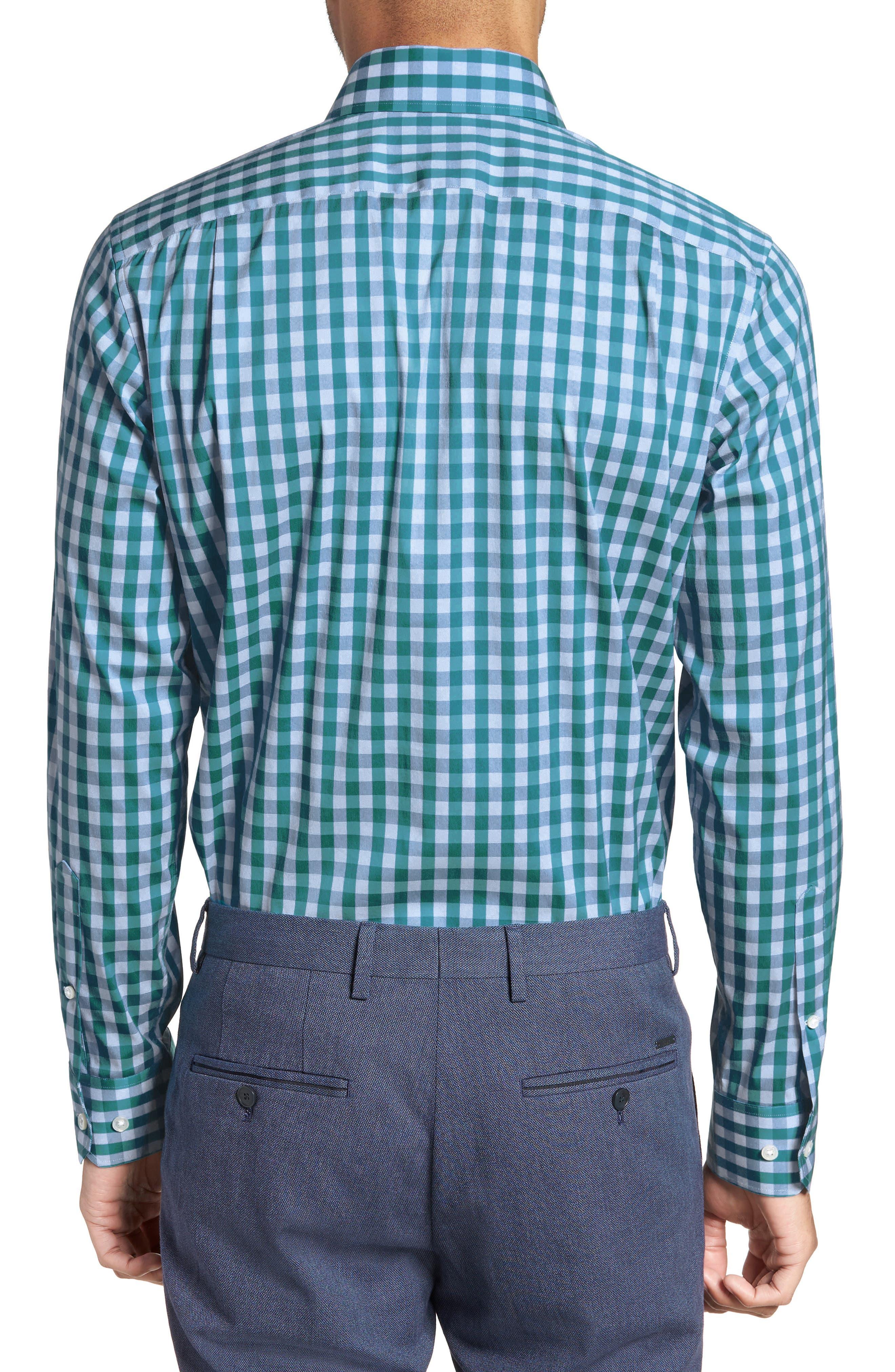 Port Grand Slim Fit Stretch Check Dress Shirt,                             Alternate thumbnail 3, color,                             TEAL