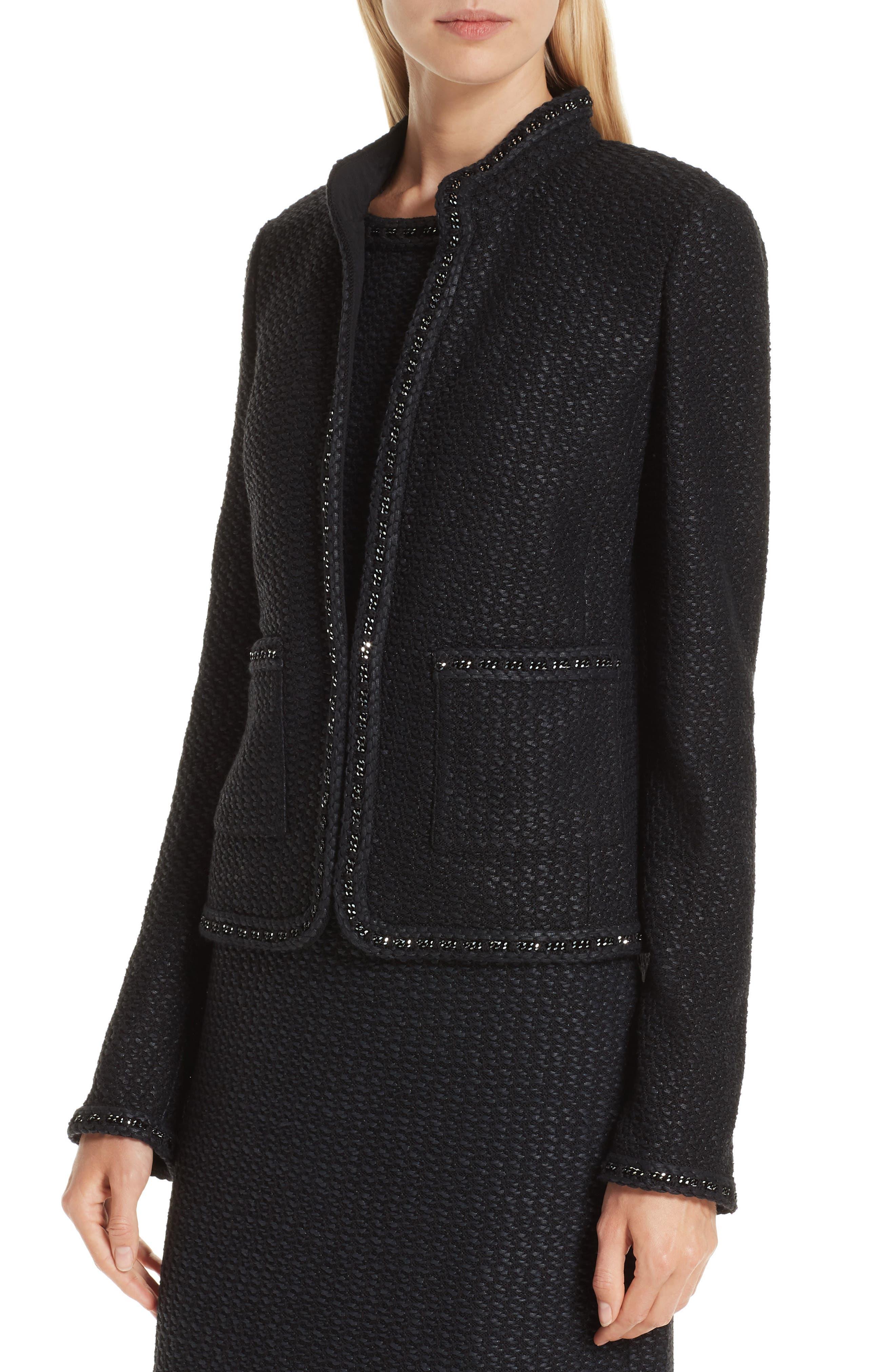 Adina Knit Short Jacket,                             Alternate thumbnail 4, color,                             CAVIAR