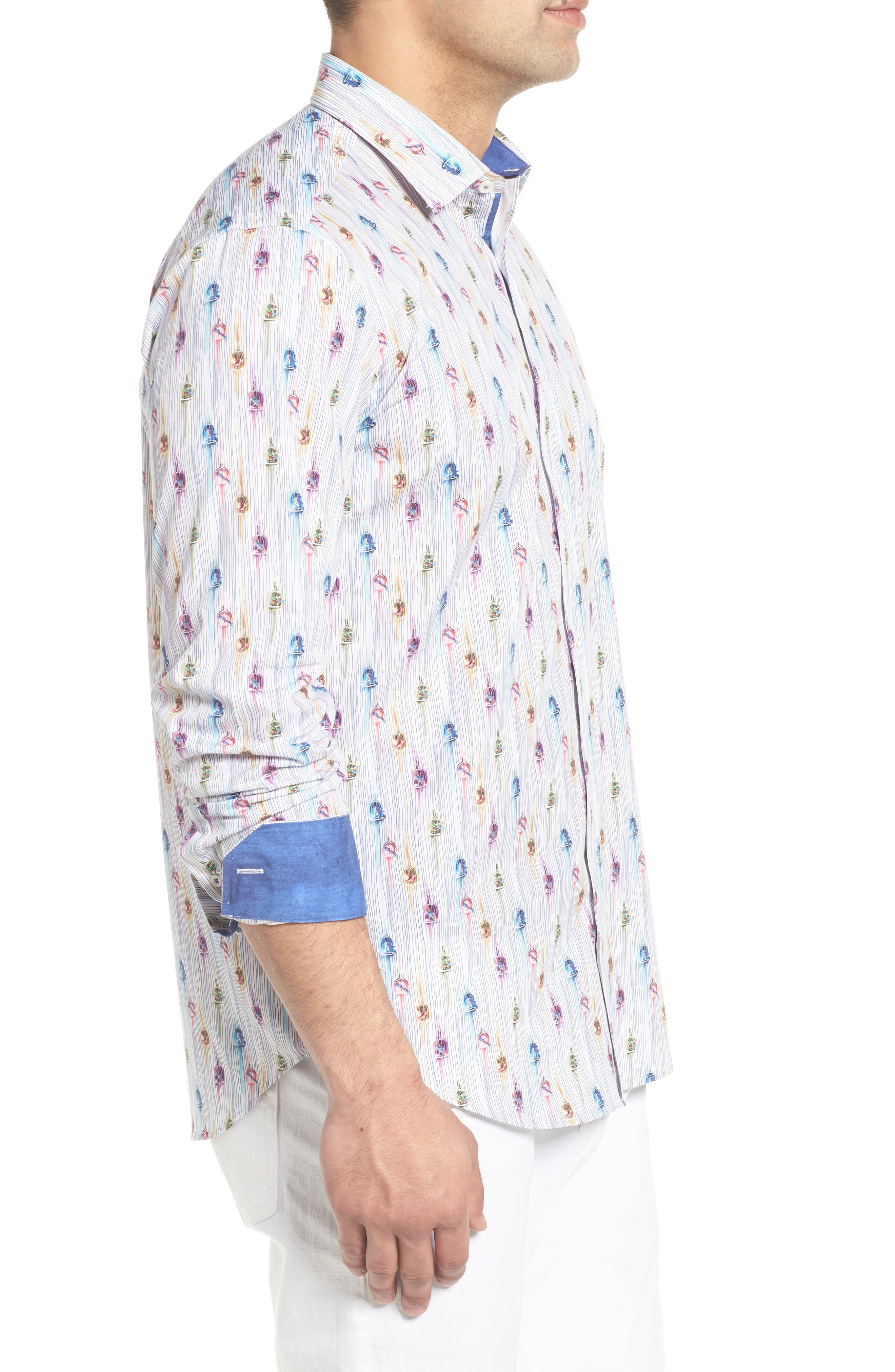Shaped Fit Caged Bird Sport Shirt,                             Alternate thumbnail 3, color,