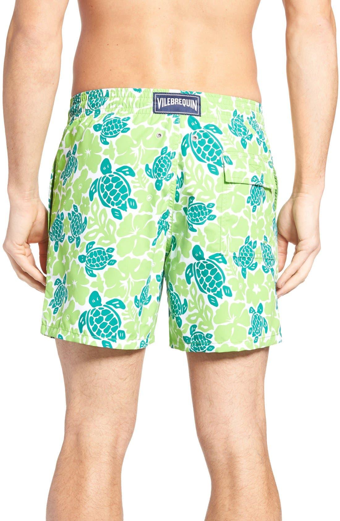 Hawaiian Turtle Print Swim Trunks,                             Alternate thumbnail 2, color,