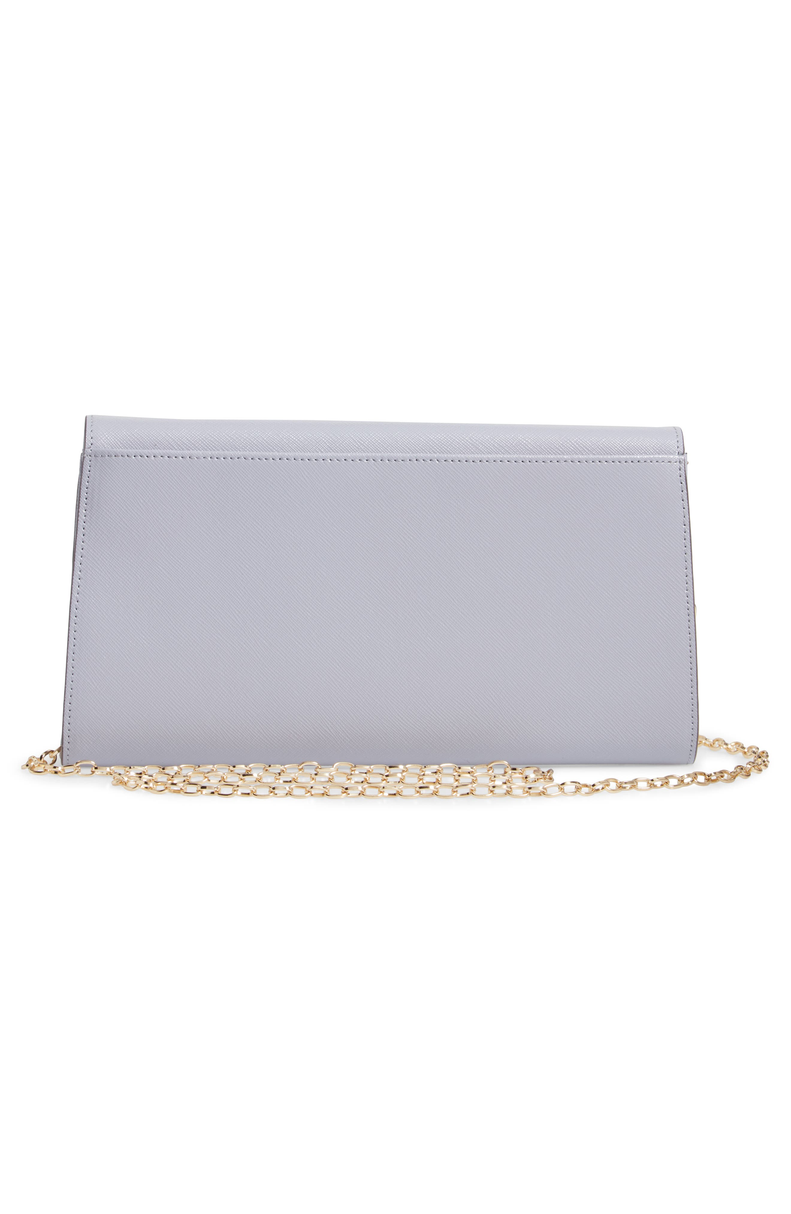 Leather Clutch,                             Alternate thumbnail 3, color,                             GREY LILAC