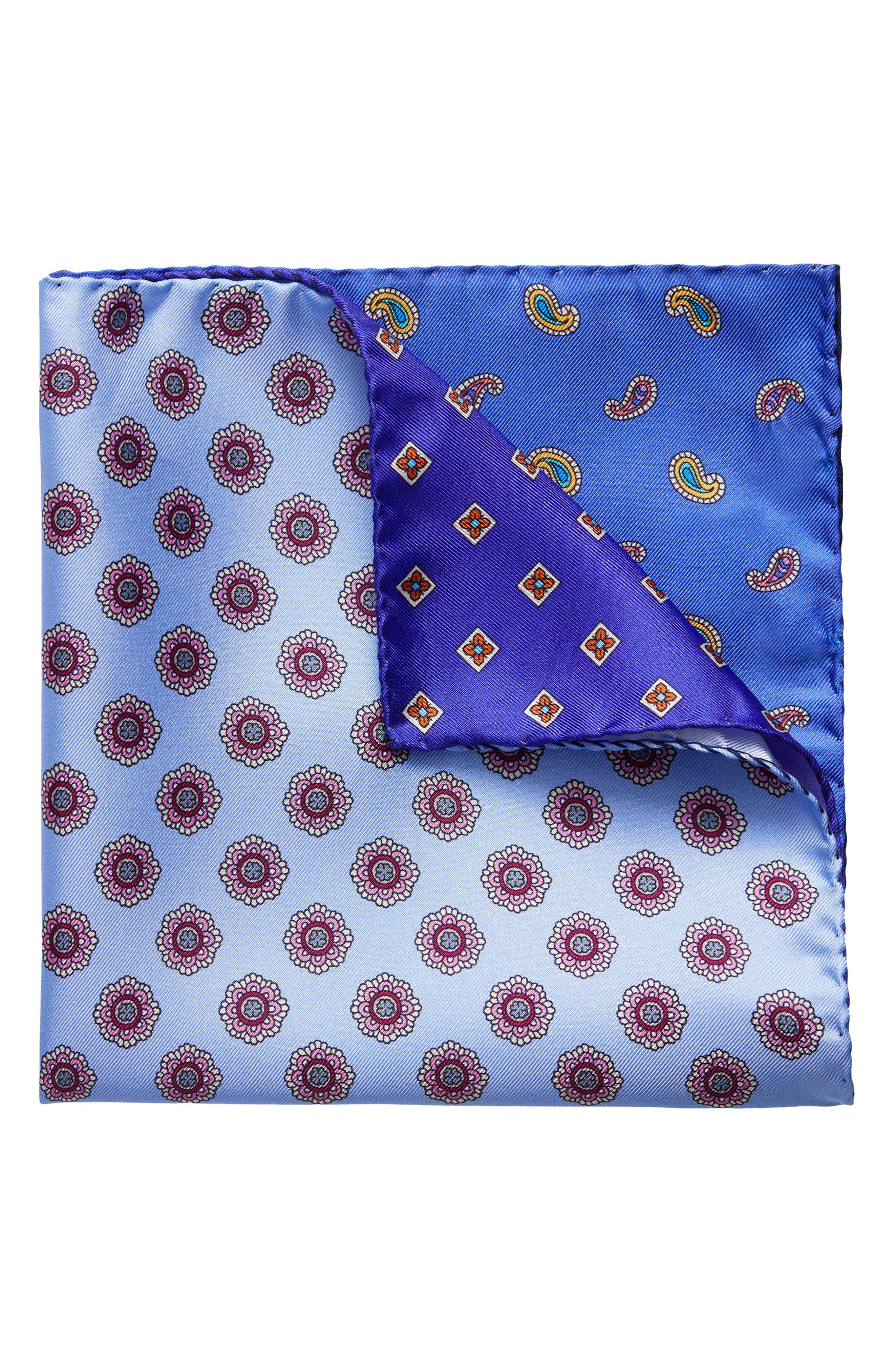 Four Panel Silk Pocket Square,                         Main,                         color,