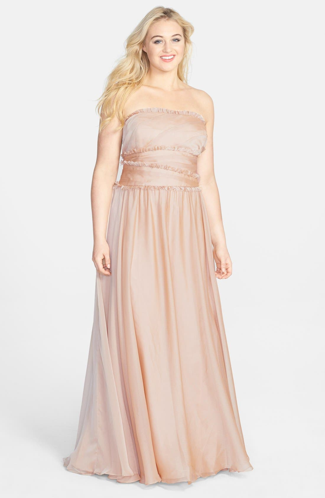 ML Monique Lhuillier Bridesmaids Strapless Chiffon Gown,                             Alternate thumbnail 49, color,