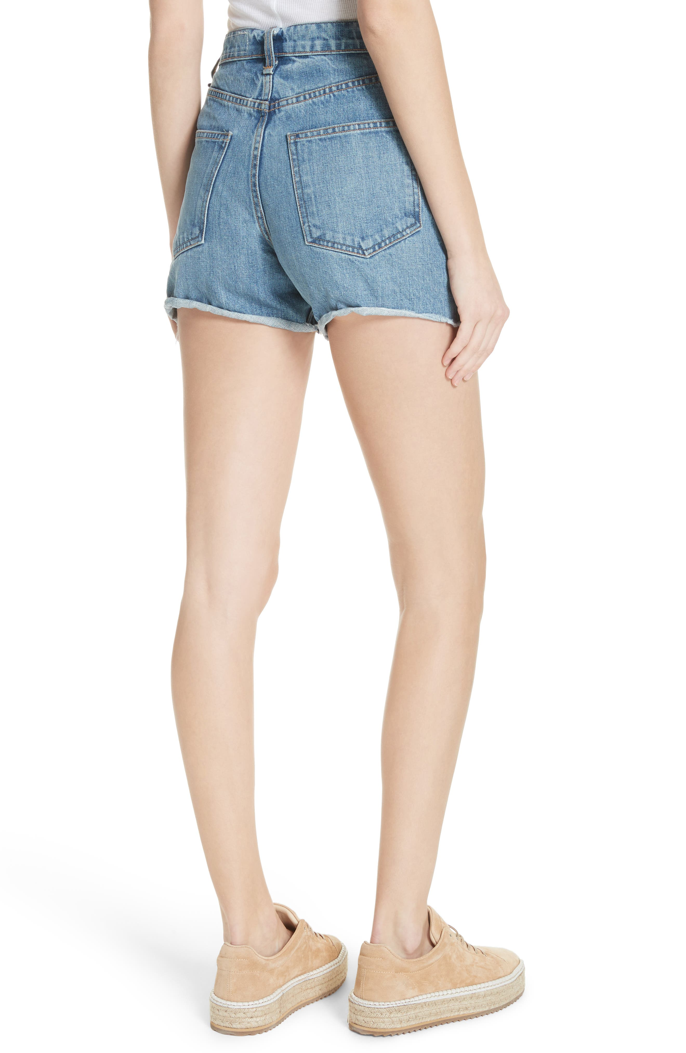 Torti High Waist Denim Shorts,                             Alternate thumbnail 2, color,                             400