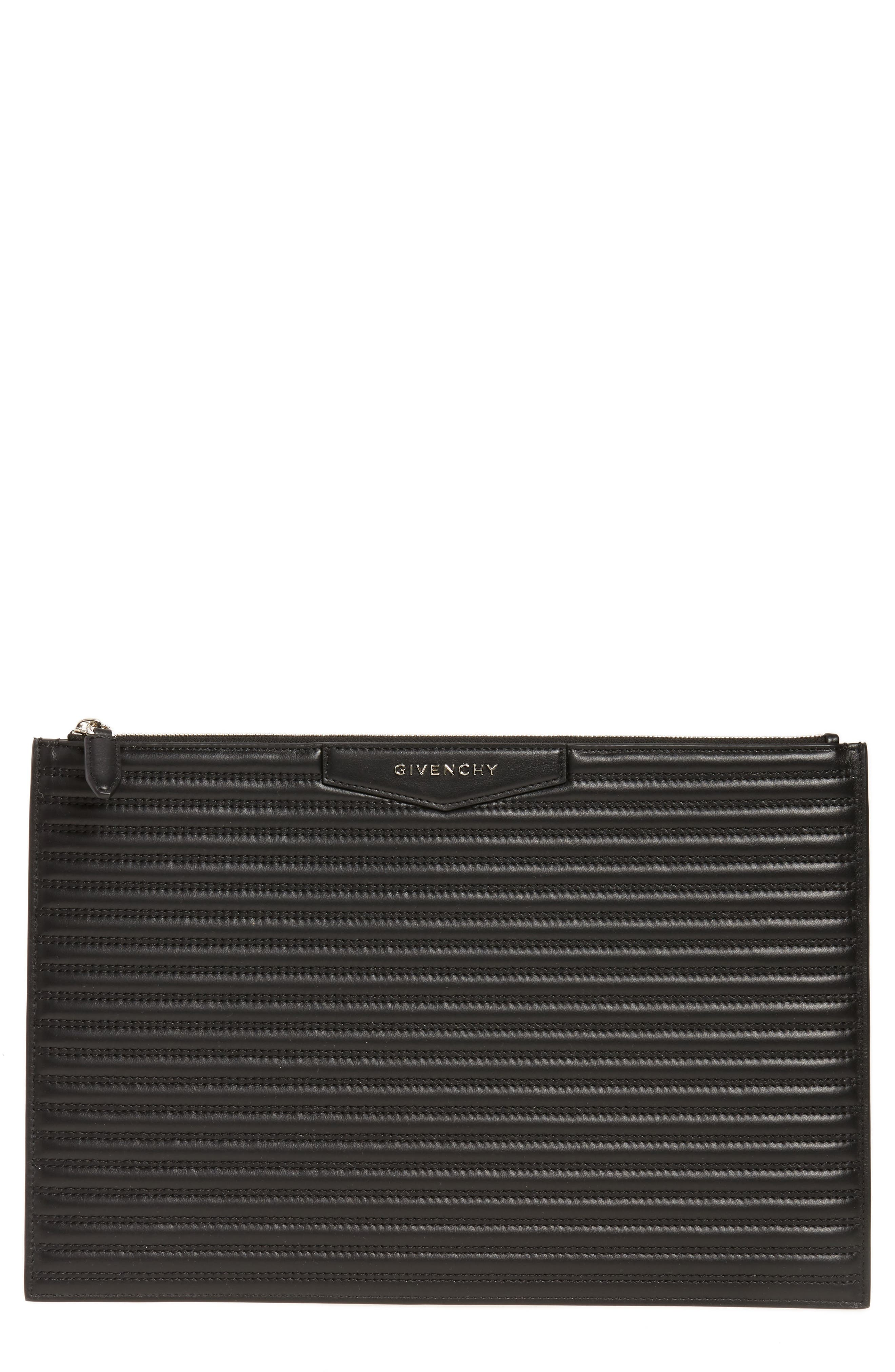 Antigona Quilted Leather Pouch,                         Main,                         color, 001