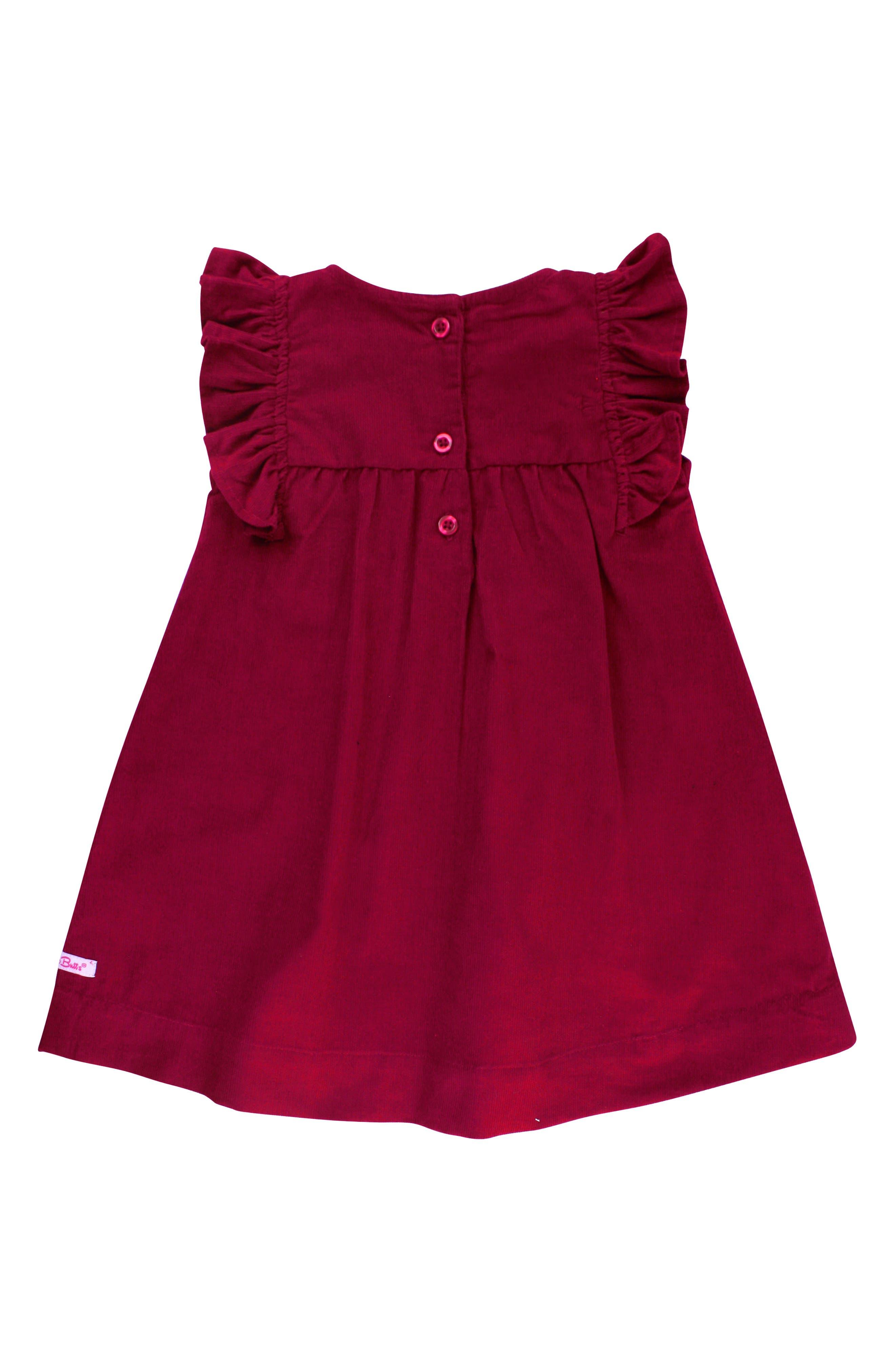 Bodysuit & Corduroy Dress Set,                             Alternate thumbnail 2, color,                             DARK RED