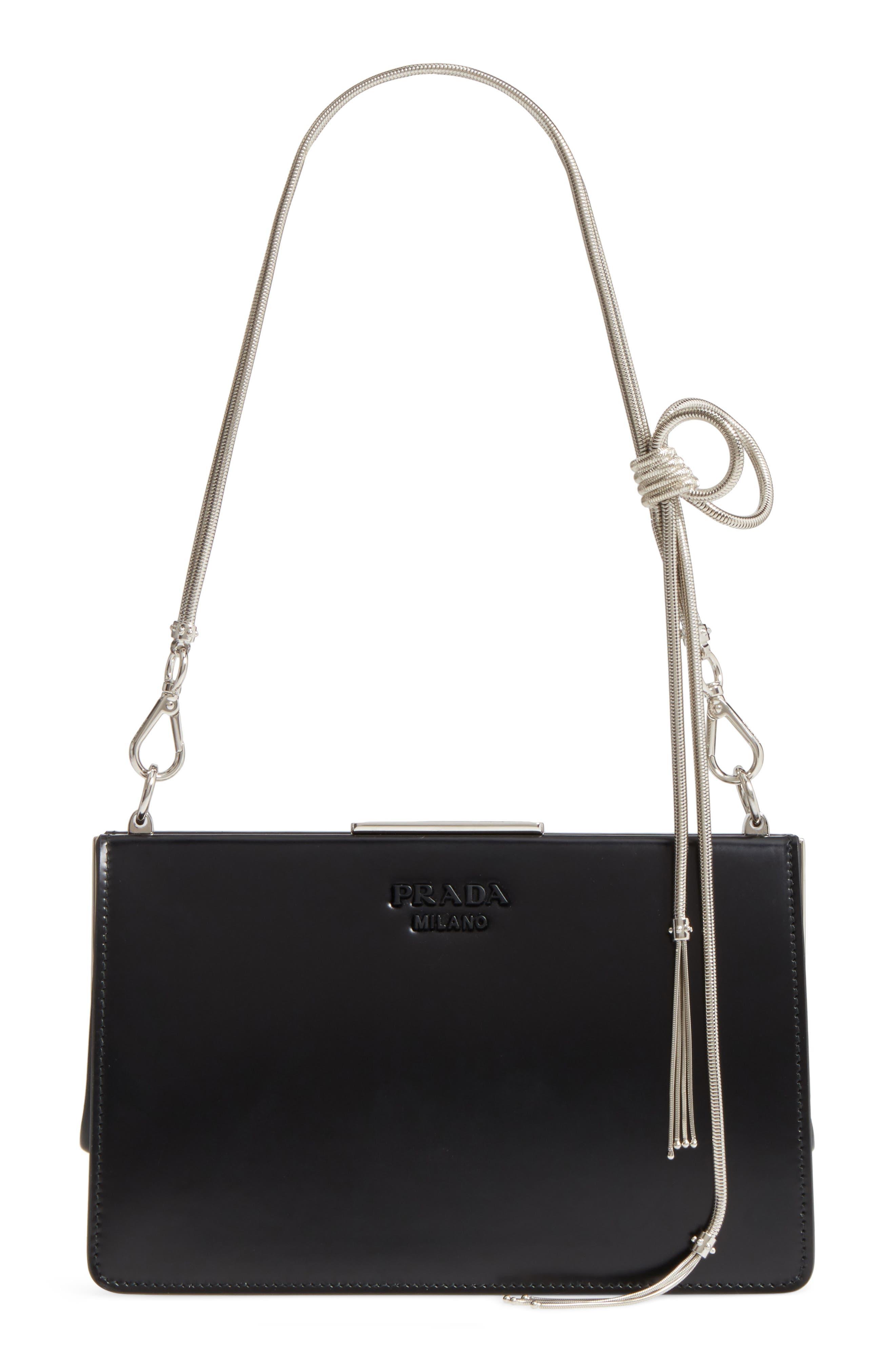 PRADA Spazzolato Calfskin Crossbody Bag, Main, color, 001