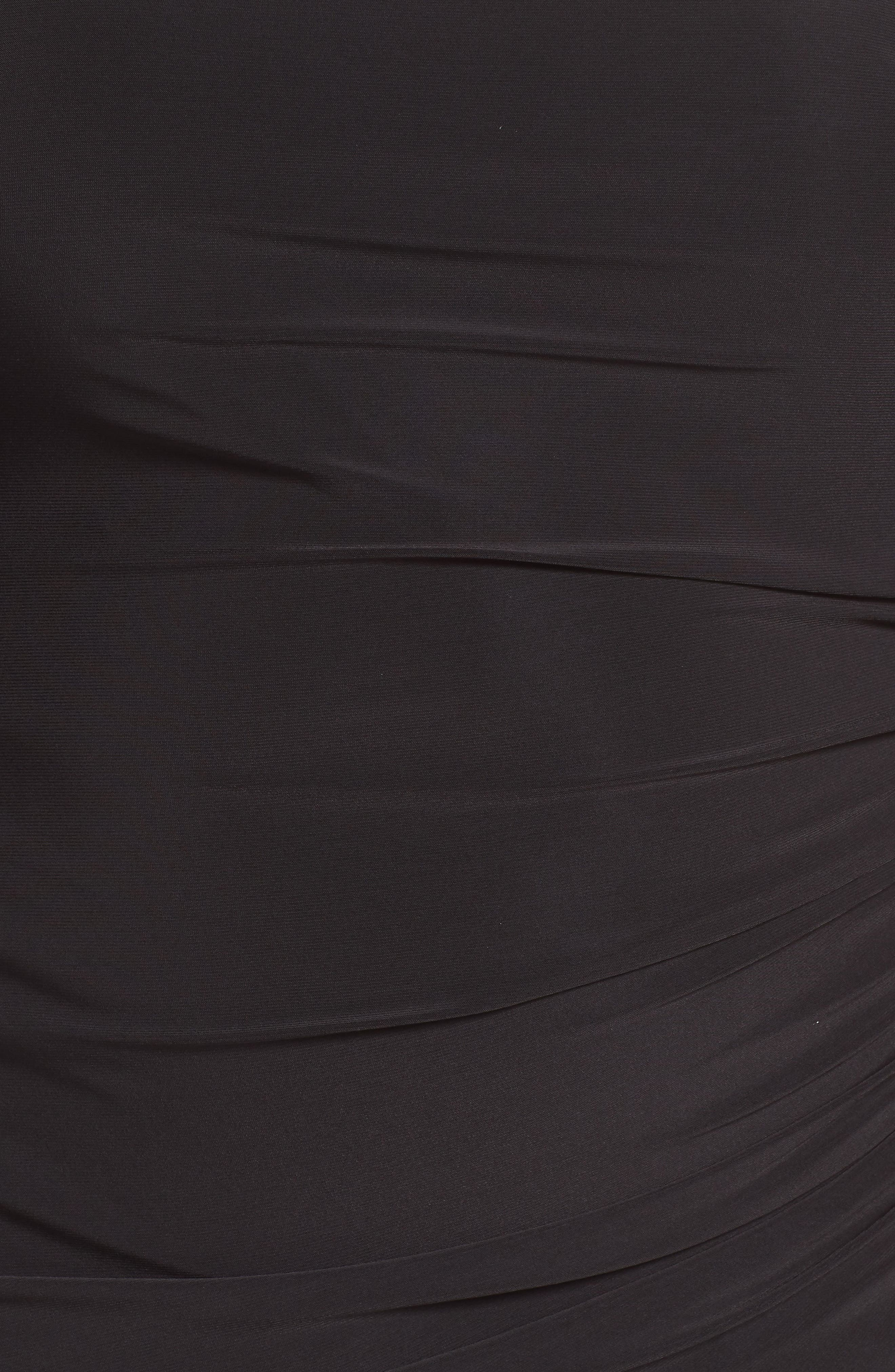 Cold Shoulder Sparkle Dress,                             Alternate thumbnail 6, color,                             BLACK/ SILVER