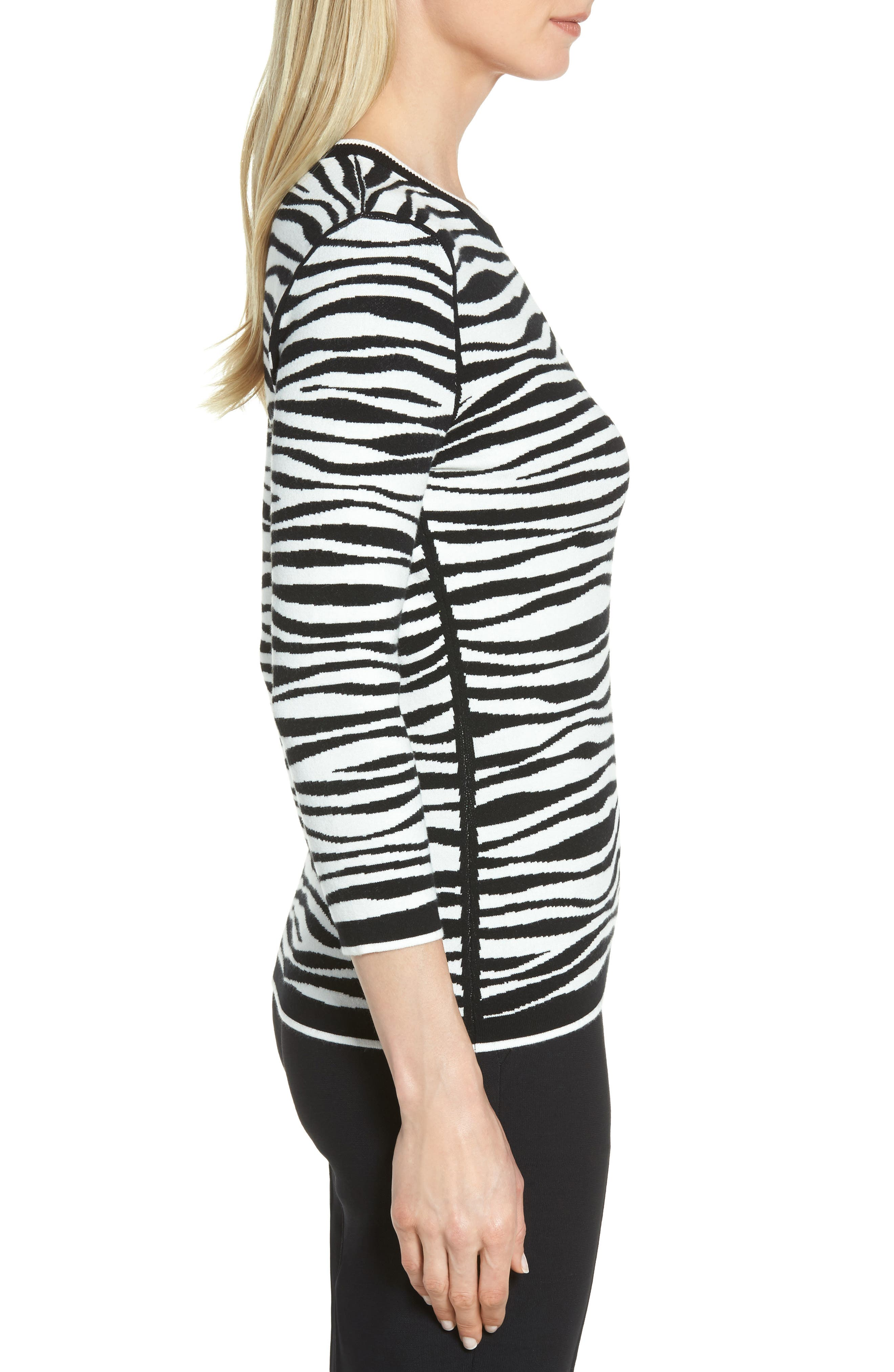 Fatima Zebra Stripe Sweater,                             Alternate thumbnail 3, color,                             006