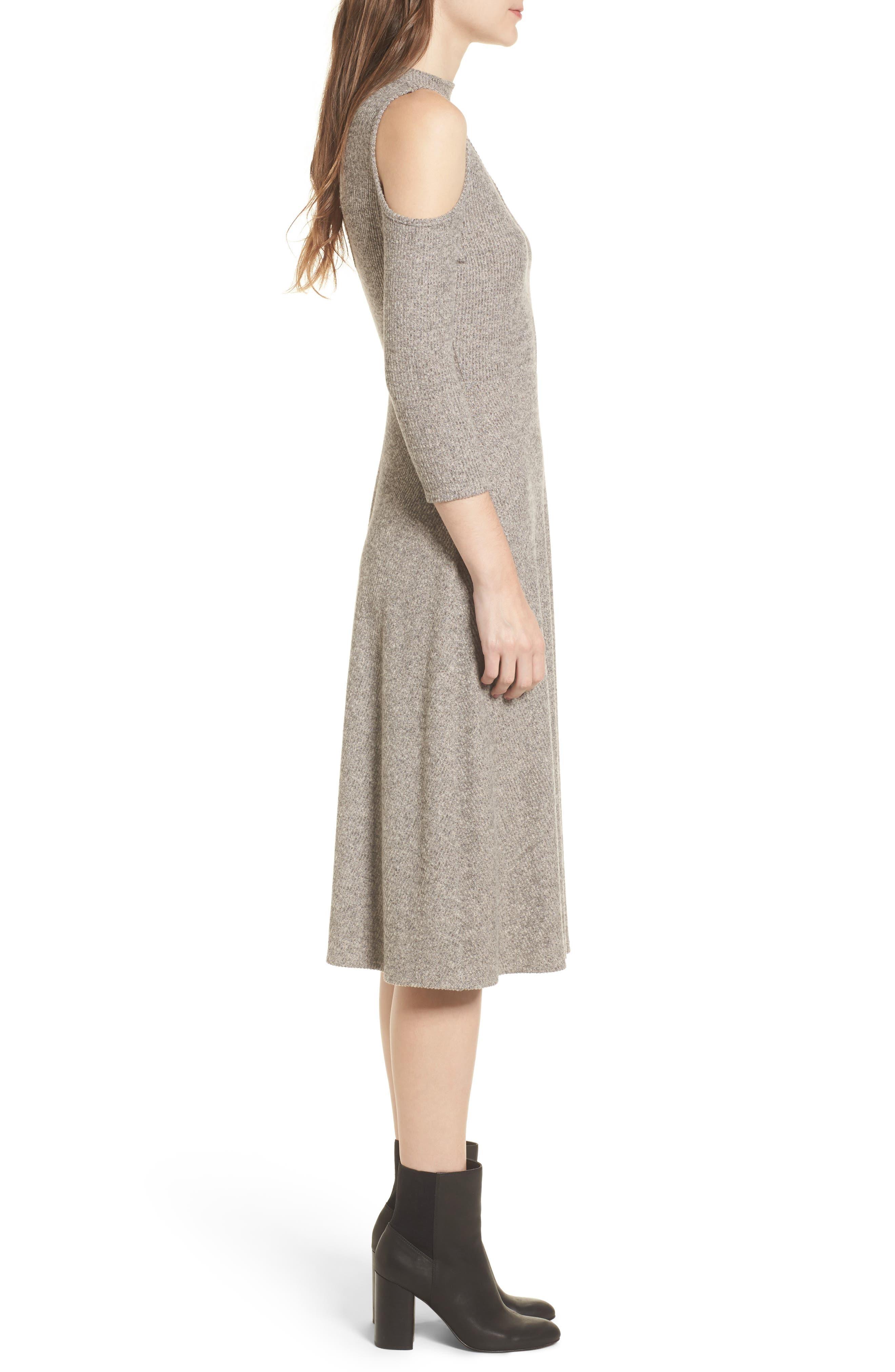 Choker Neck Cold Shoulder Midi Dress,                             Alternate thumbnail 3, color,