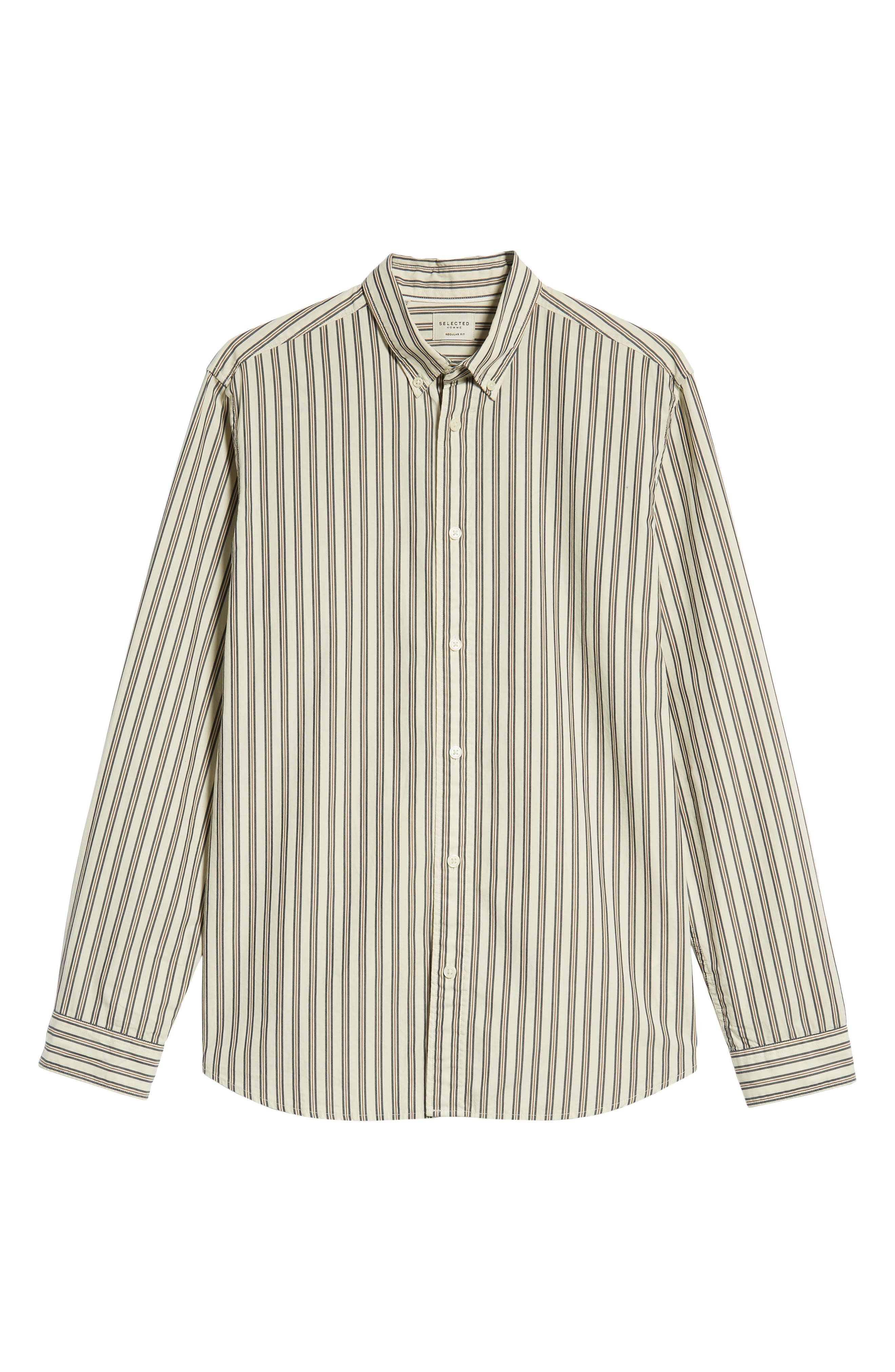 Carl Regular Fit Stripe Sport Shirt,                             Alternate thumbnail 5, color,                             OYSTER GREY STRIPES