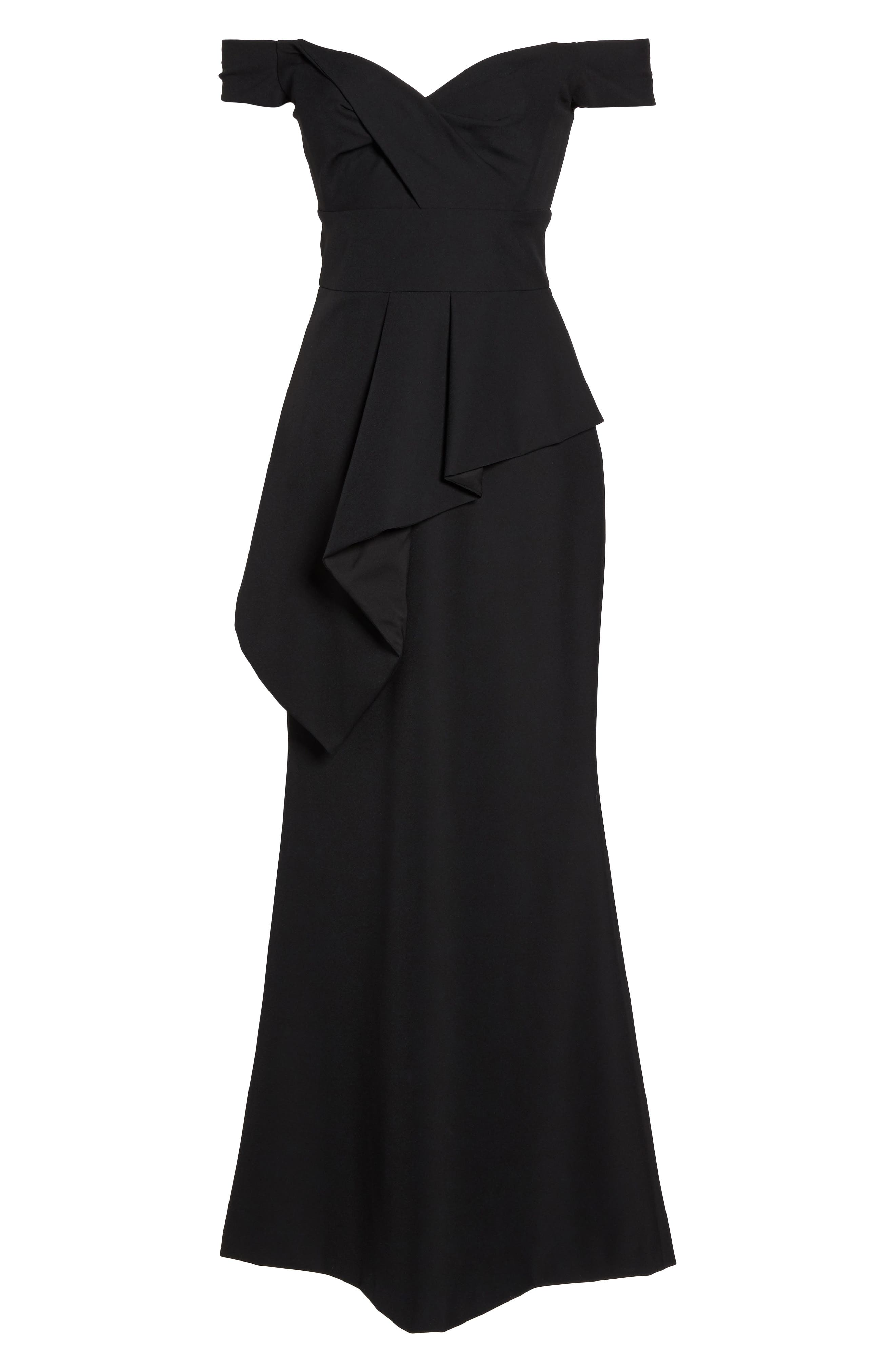 Pleated Peplum Off the Shoulder Gown,                             Alternate thumbnail 6, color,                             001