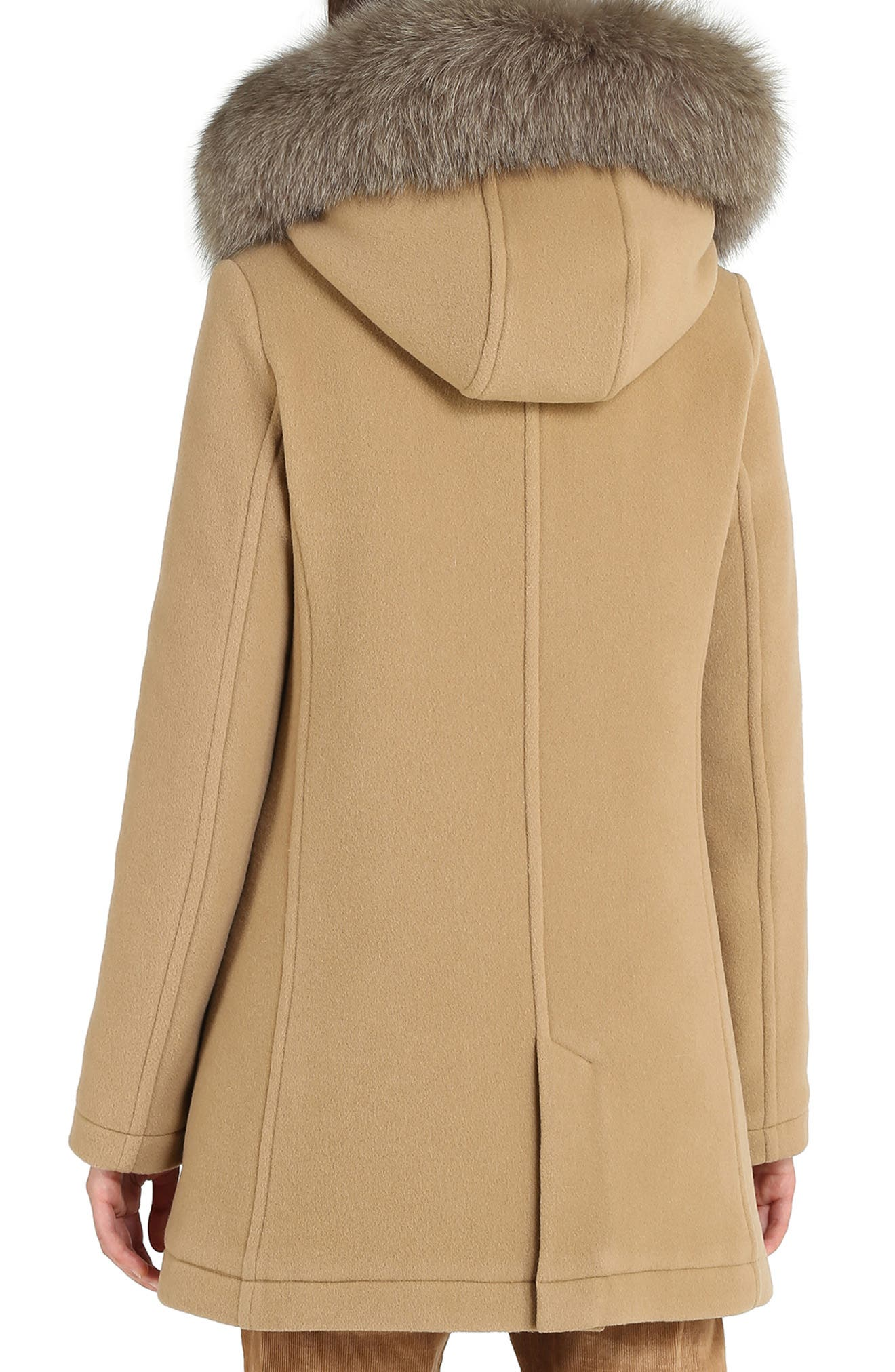 McKenzie Coat with Genuine Fox Fur Trim,                             Alternate thumbnail 2, color,                             CAMEL