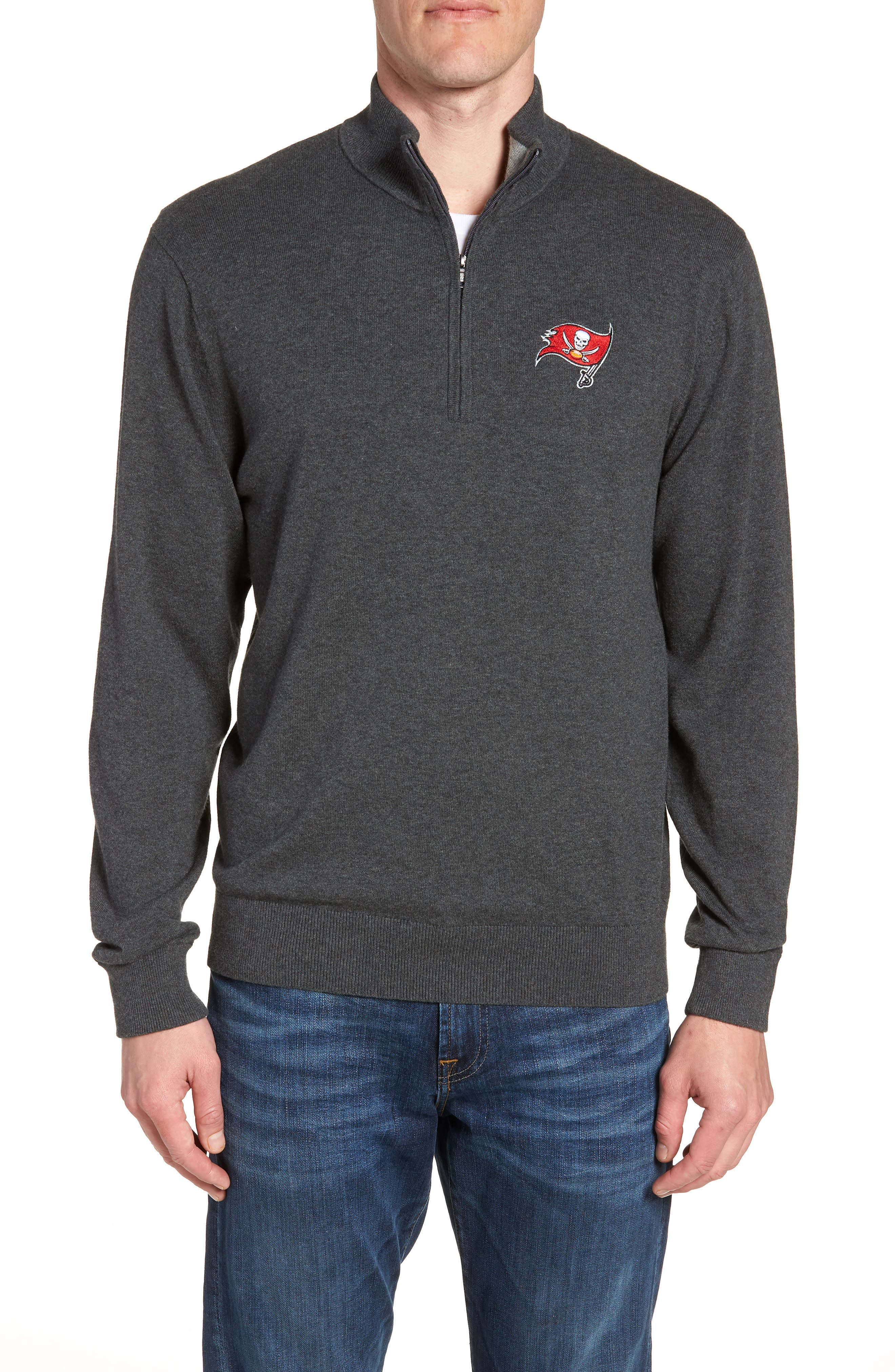Tampa Bay Buccaneers - Lakemont Regular Fit Quarter Zip Sweater,                         Main,                         color, CHARCOAL HEATHER