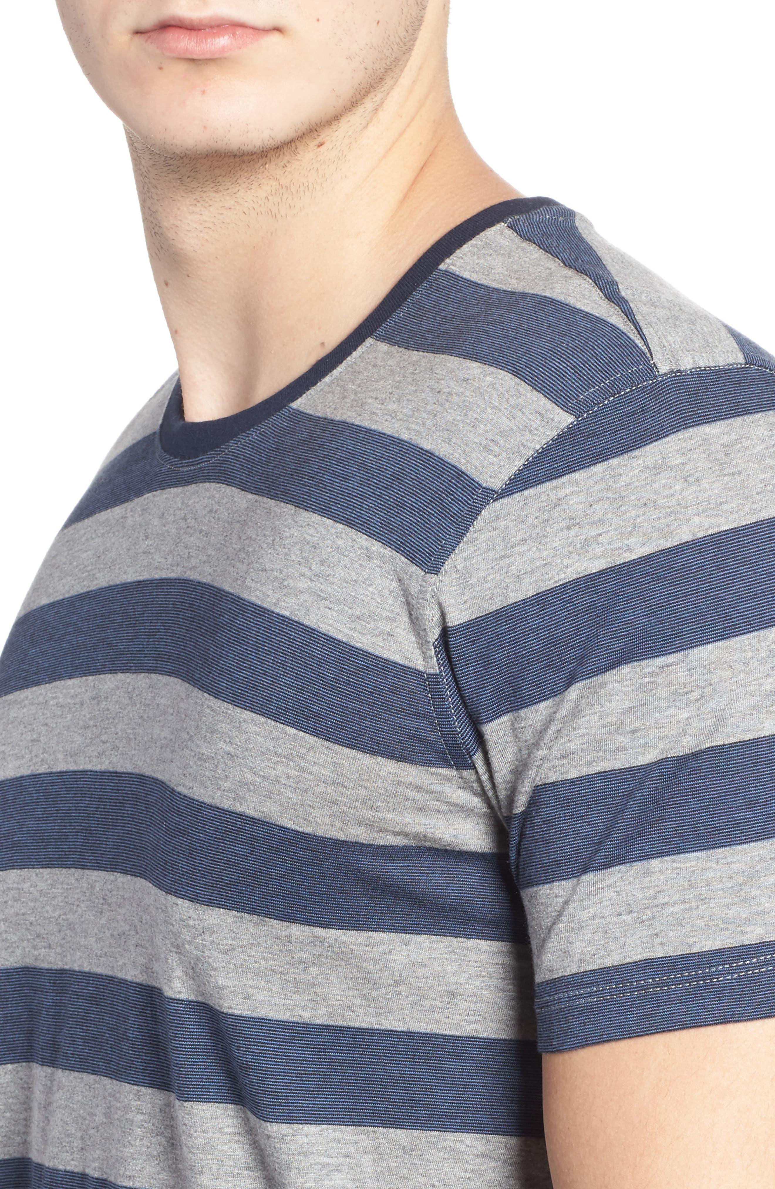 Stripe Pima Cotton & Modal Crewneck T-Shirt,                             Alternate thumbnail 4, color,