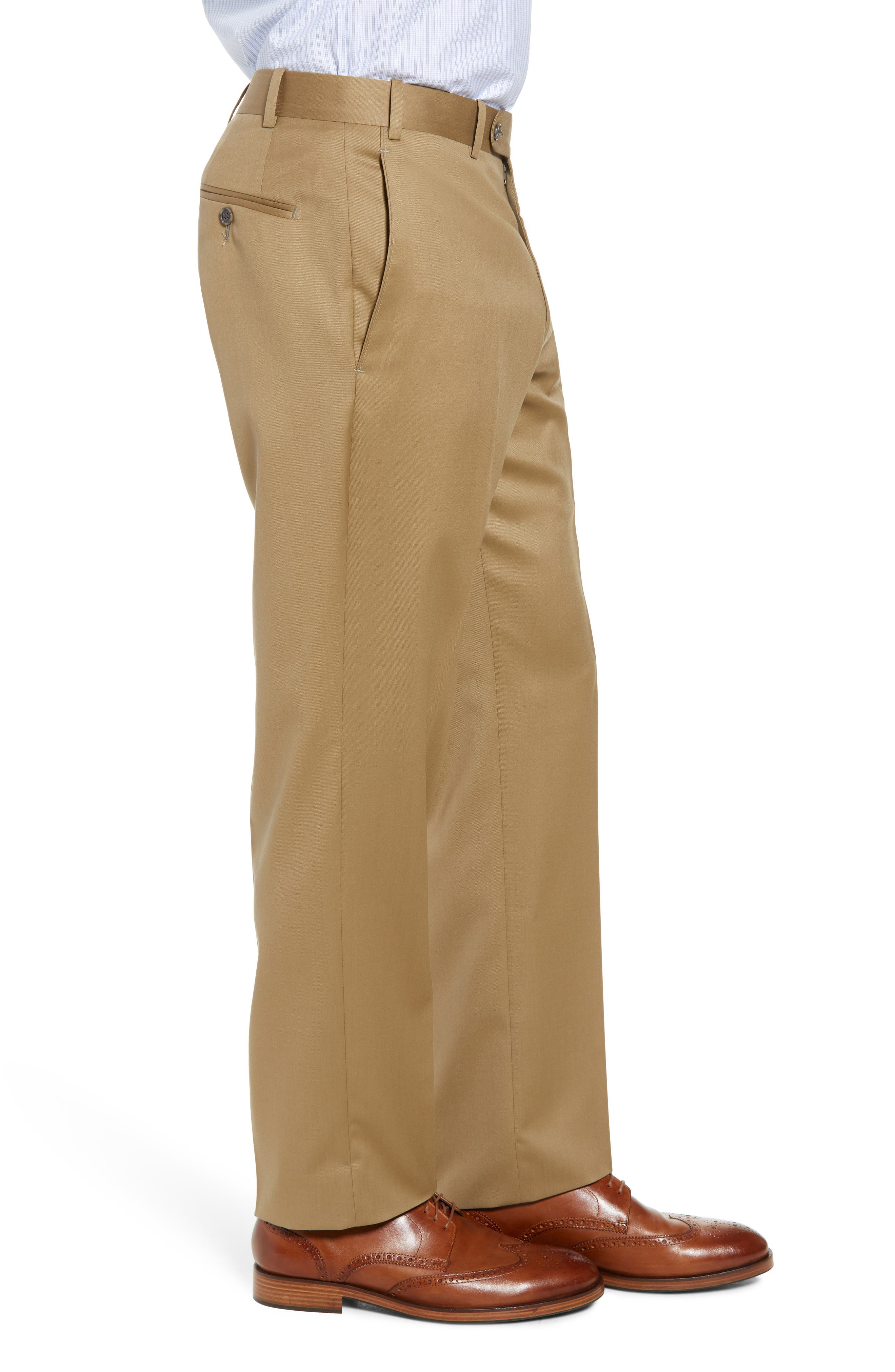 Torino Flat Front Wool Gabardine Trousers,                             Alternate thumbnail 16, color,