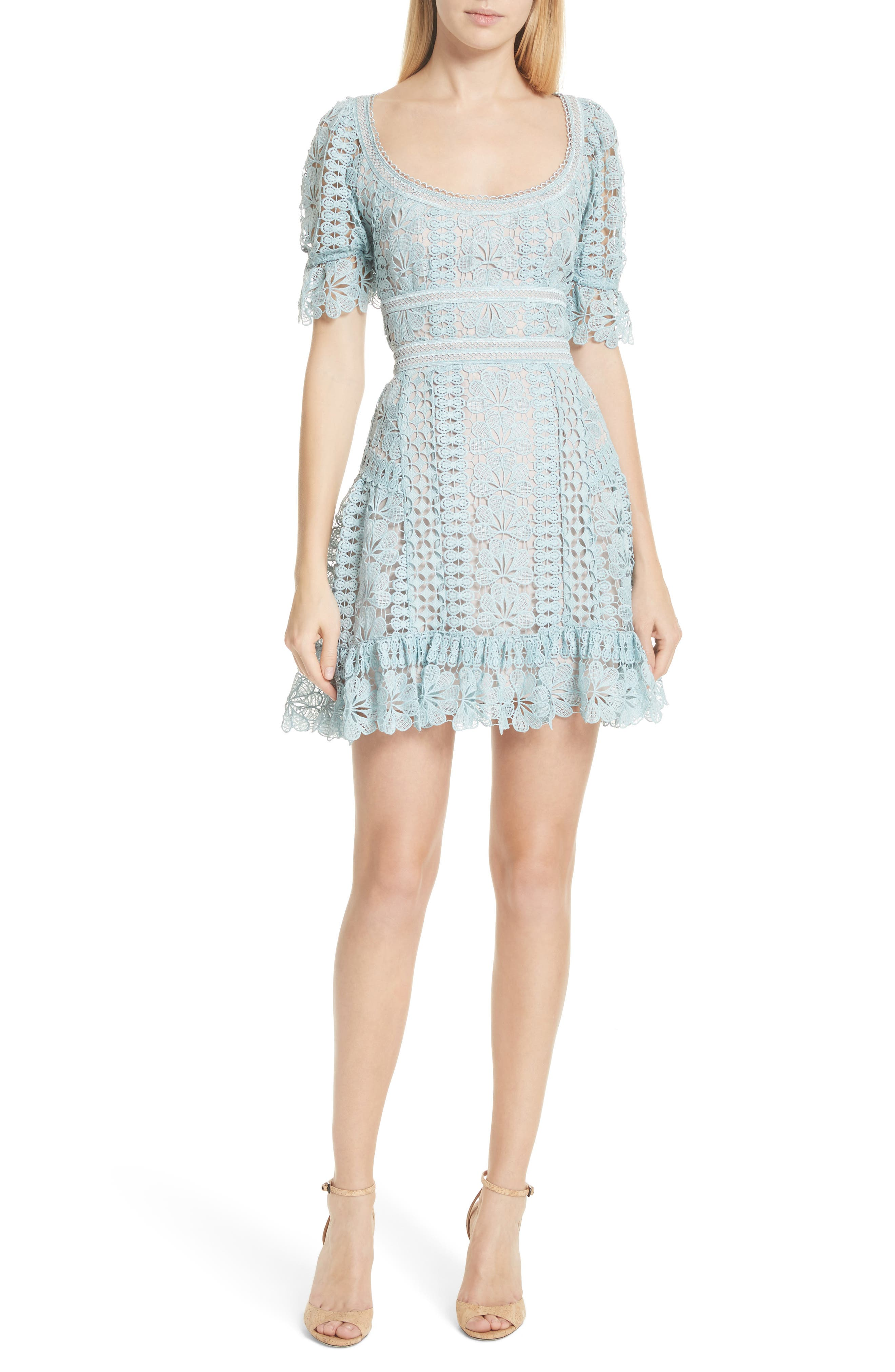 Puff Sleeve Guipure Lace Dress,                             Main thumbnail 1, color,