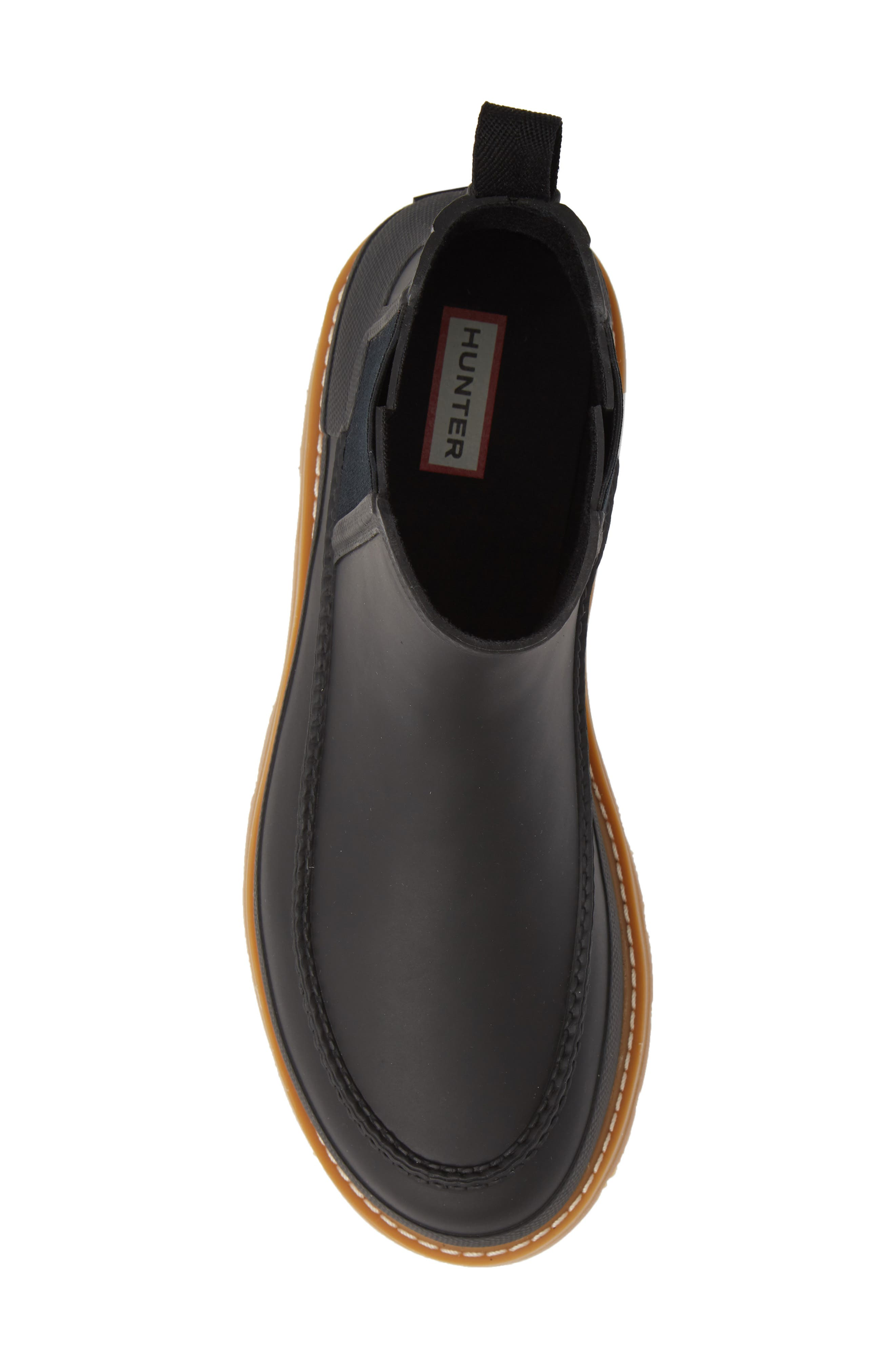 HUNTER,                             Moc Toe Waterproof Chelsea Boot,                             Alternate thumbnail 5, color,                             BLACK