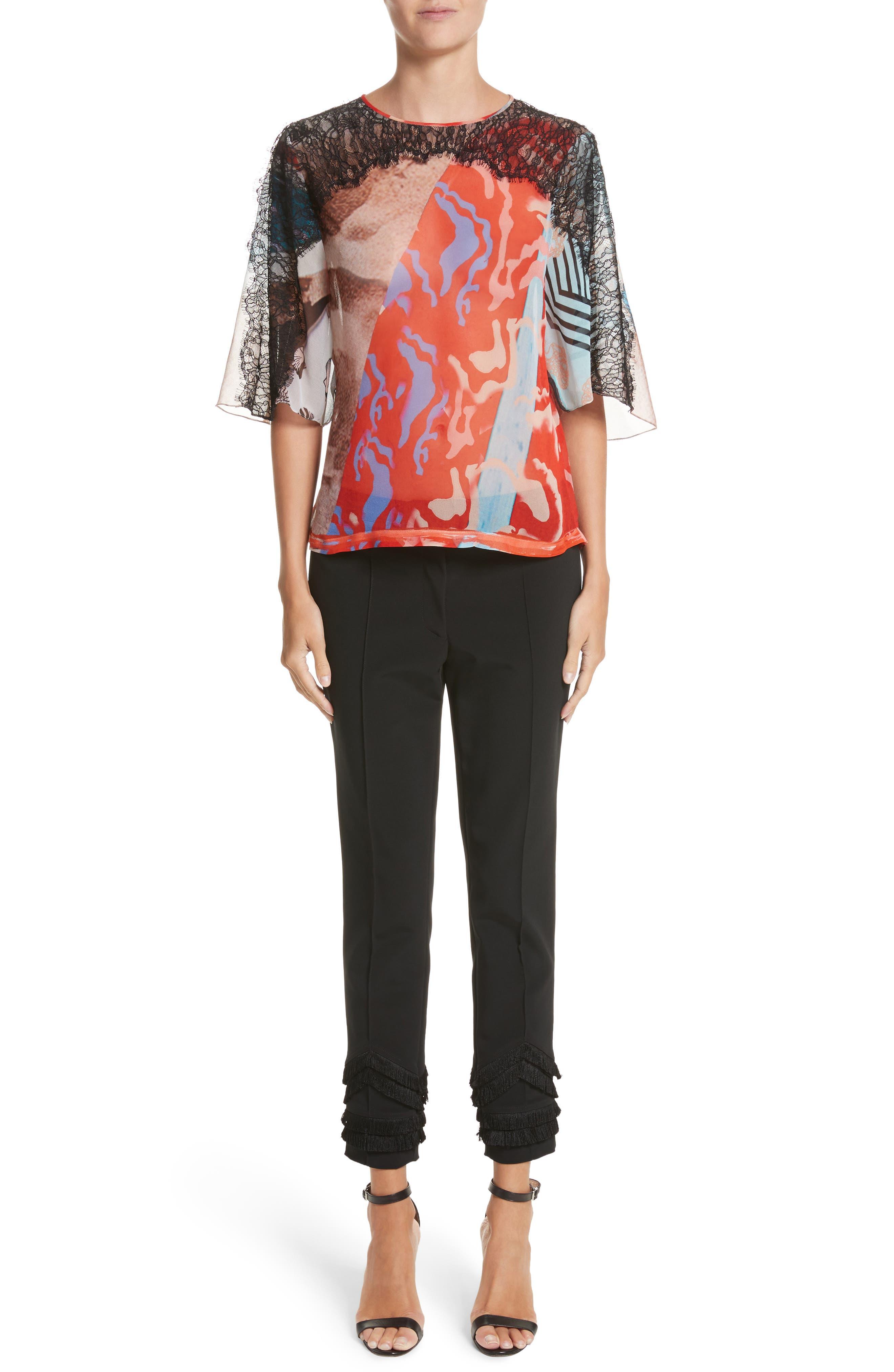 Lace & Print Silk Top,                             Alternate thumbnail 7, color,                             600