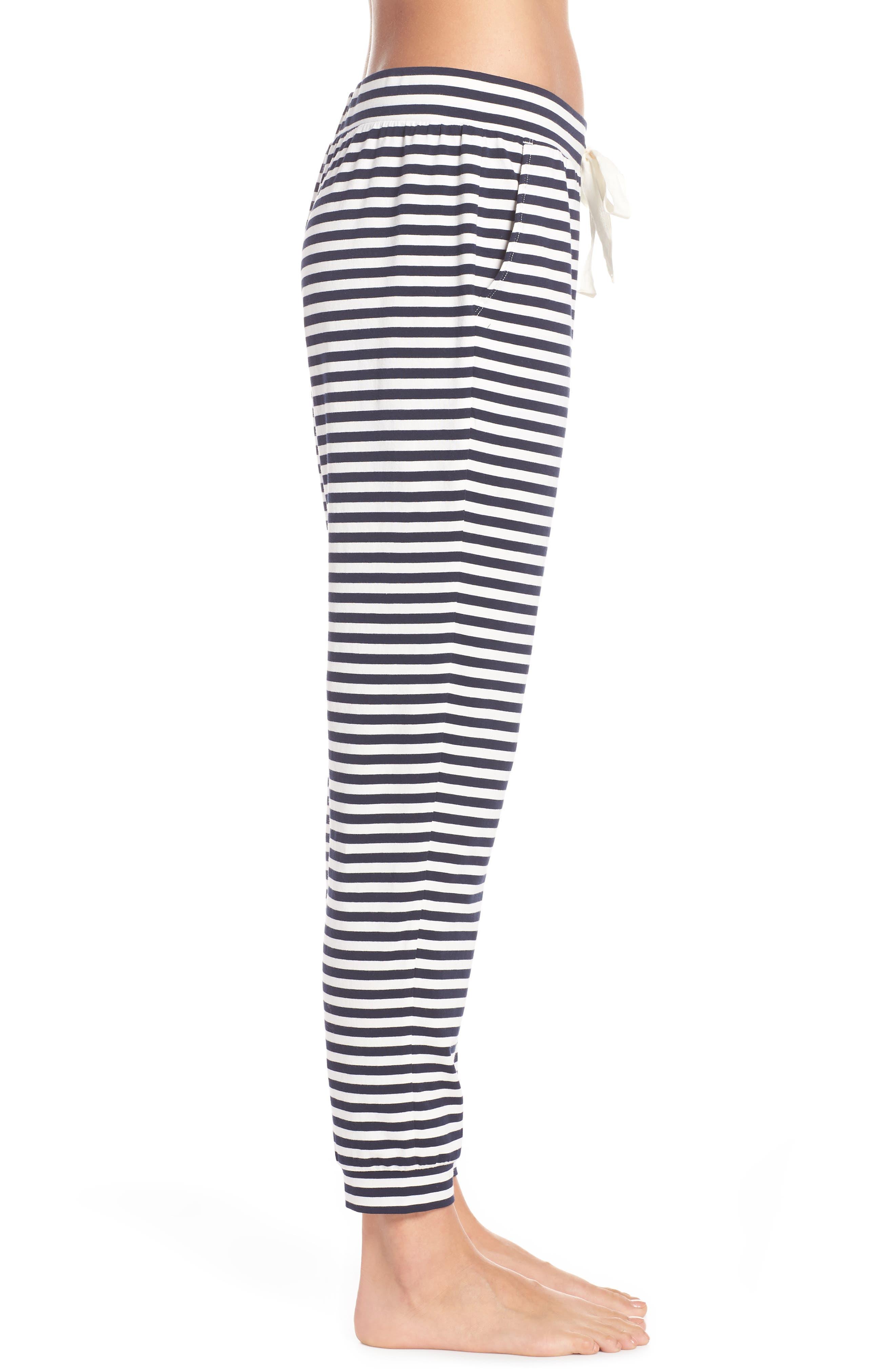 Dreamy Stripe Pajama Jogger Pants,                             Alternate thumbnail 3, color,                             IVORY NAVY