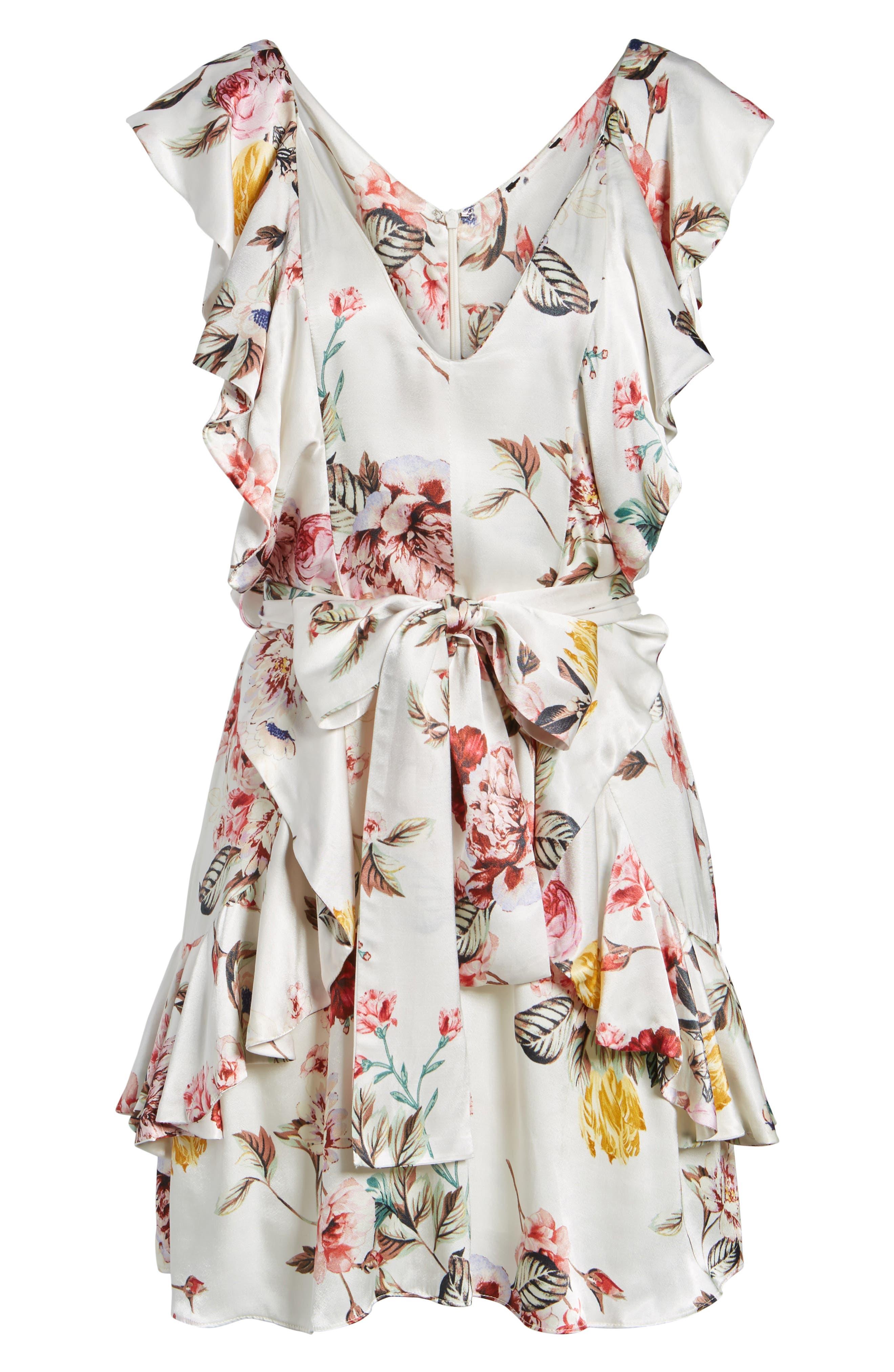 Clara Ruffle Dress,                             Alternate thumbnail 6, color,                             100