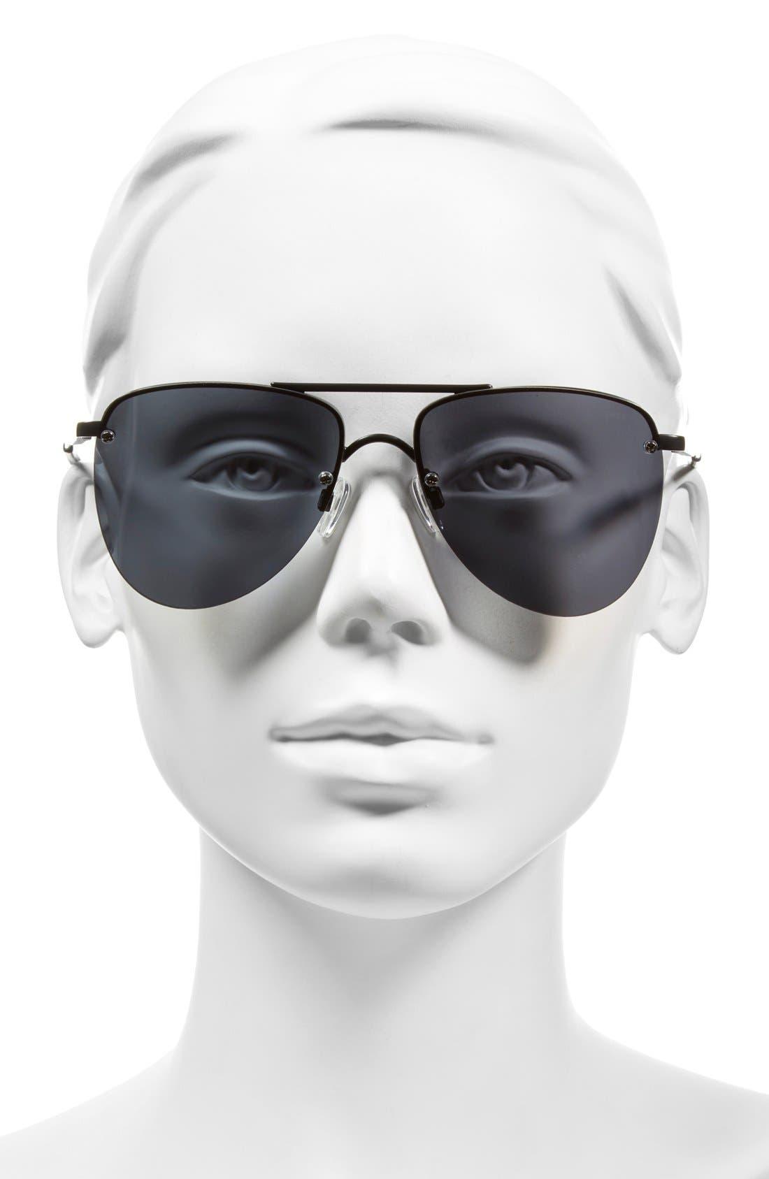 The Prince 57mm Aviator Sunglasses,                             Alternate thumbnail 3, color,                             BLACK