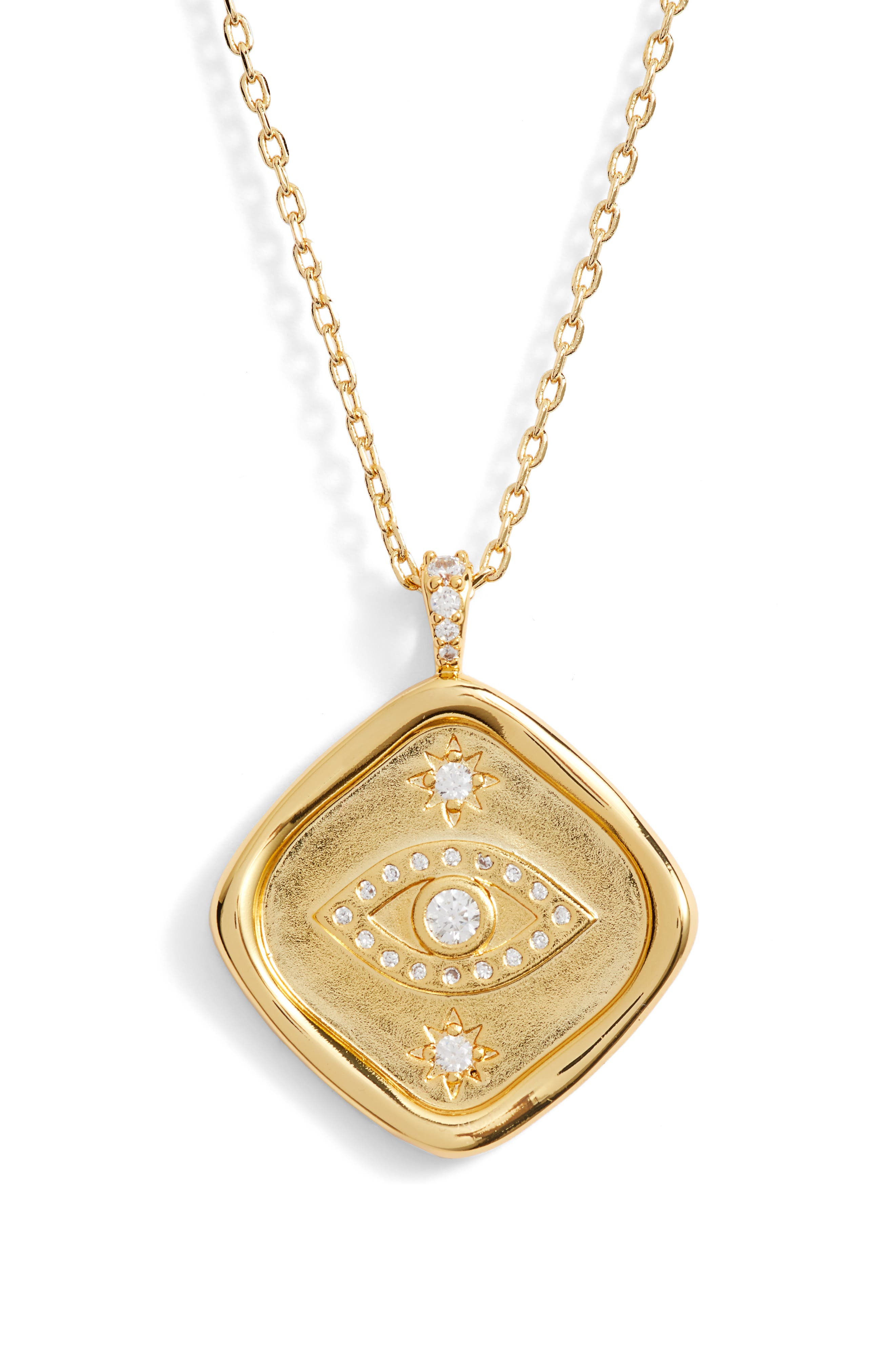 LULU DK Evil Eye Protection Crystal Pendant Necklace in Gold