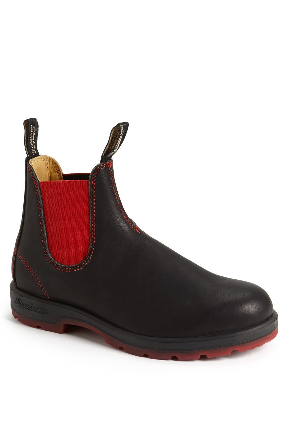 Chelsea Boot,                             Main thumbnail 1, color,                             BLACK/ RED GORE
