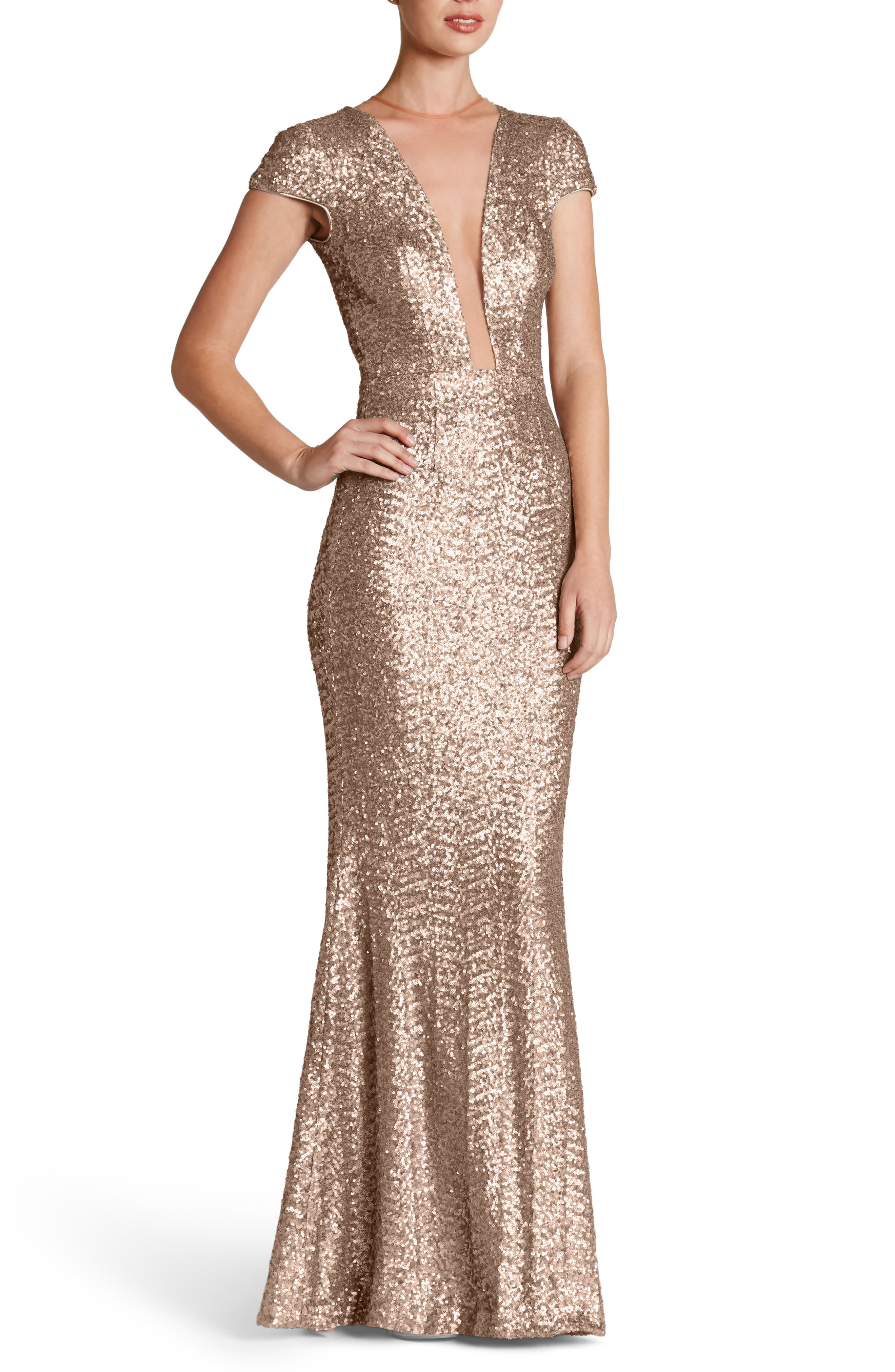 70s Prom, Formal, Evening, Party Dresses Womens Dress The Population Michelle Sequin Gown $320.00 AT vintagedancer.com
