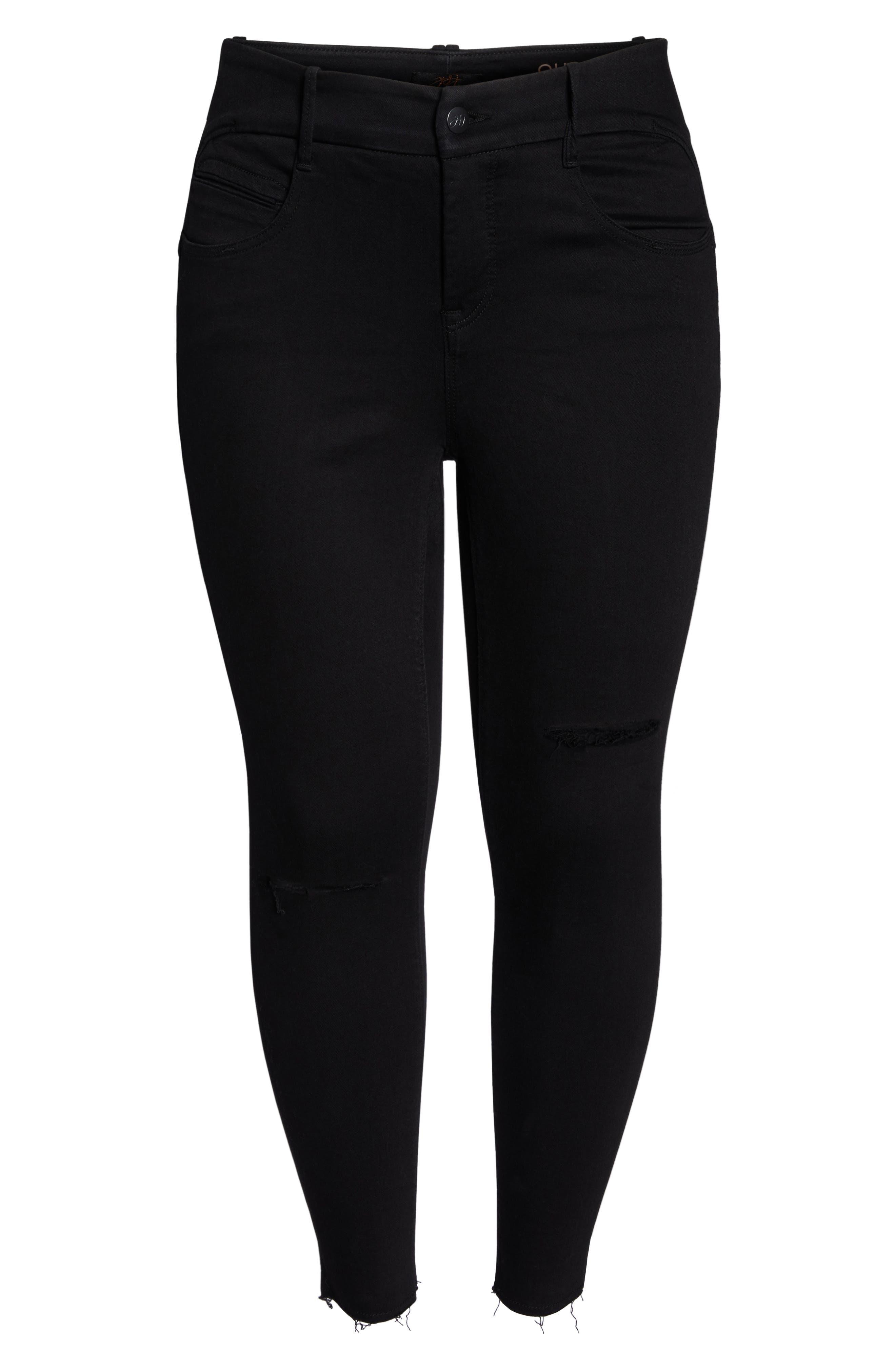 Fray Hem Ankle Skinny Jeans,                             Alternate thumbnail 7, color,                             BLACK RINSE WASH