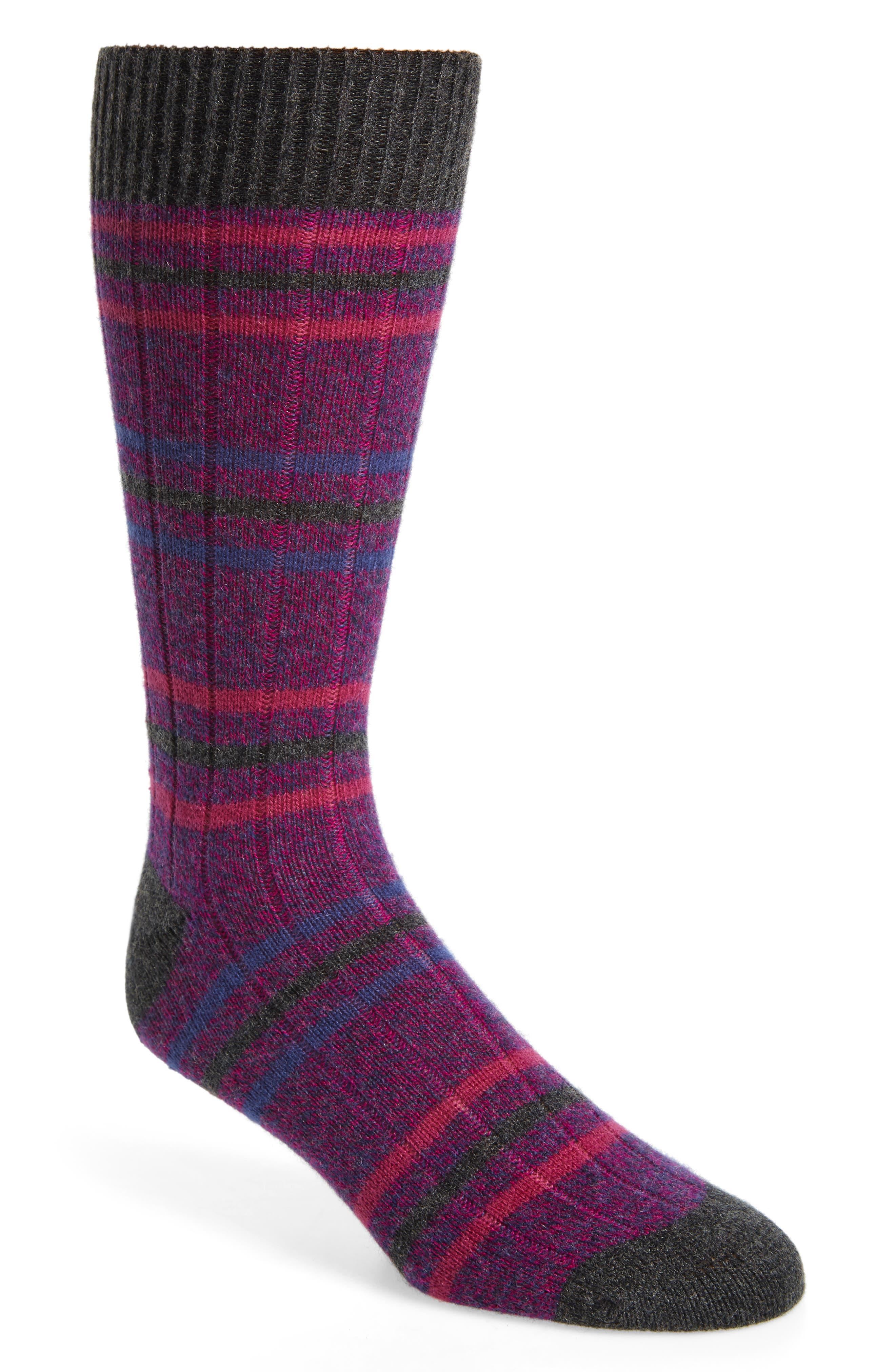 PANTHERELLA Stripe Cashmere Blend Socks in Magenta Denim