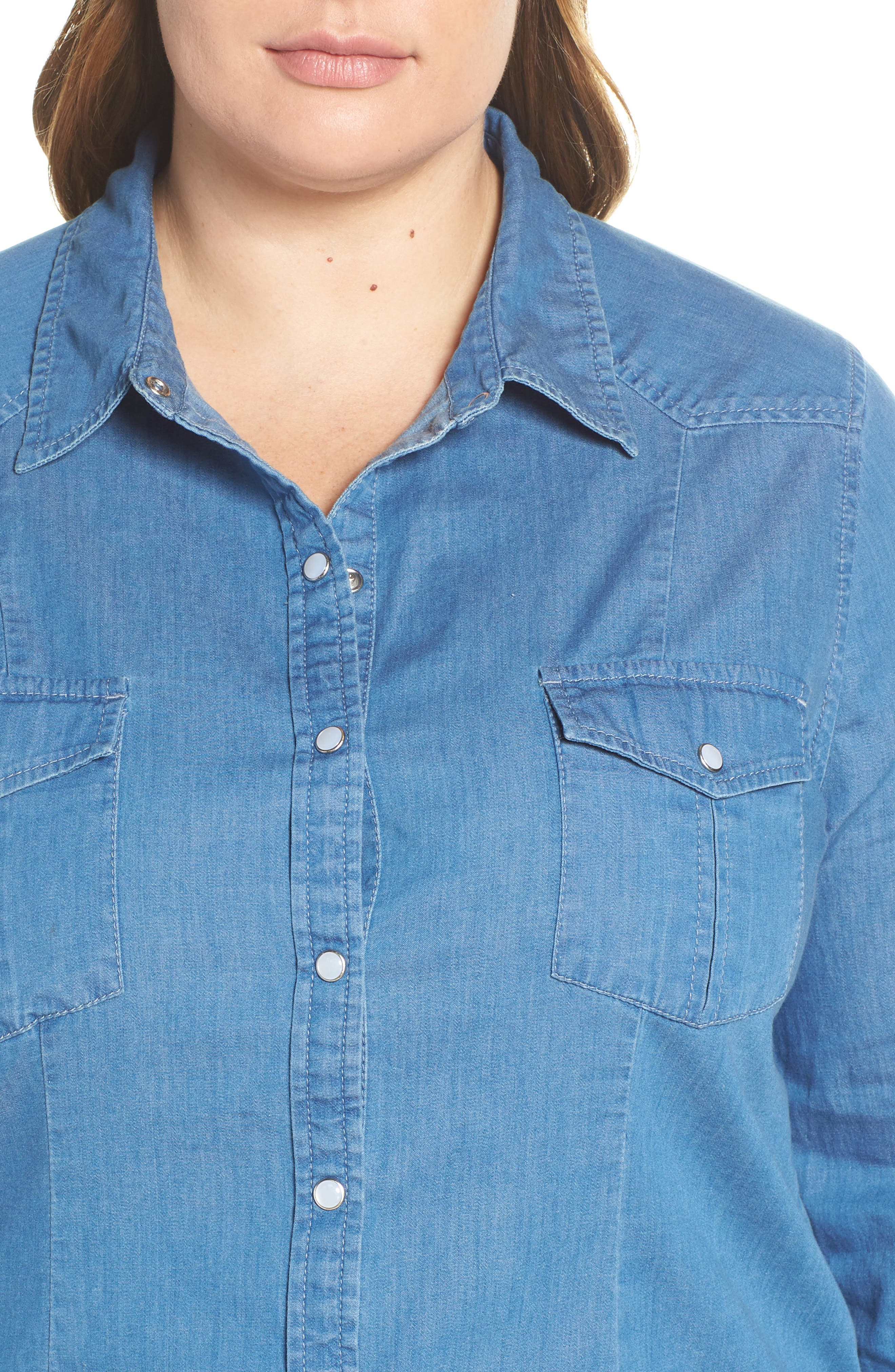 Fitted Chambray Shirt,                             Alternate thumbnail 10, color,                             ROBIN INDIGO