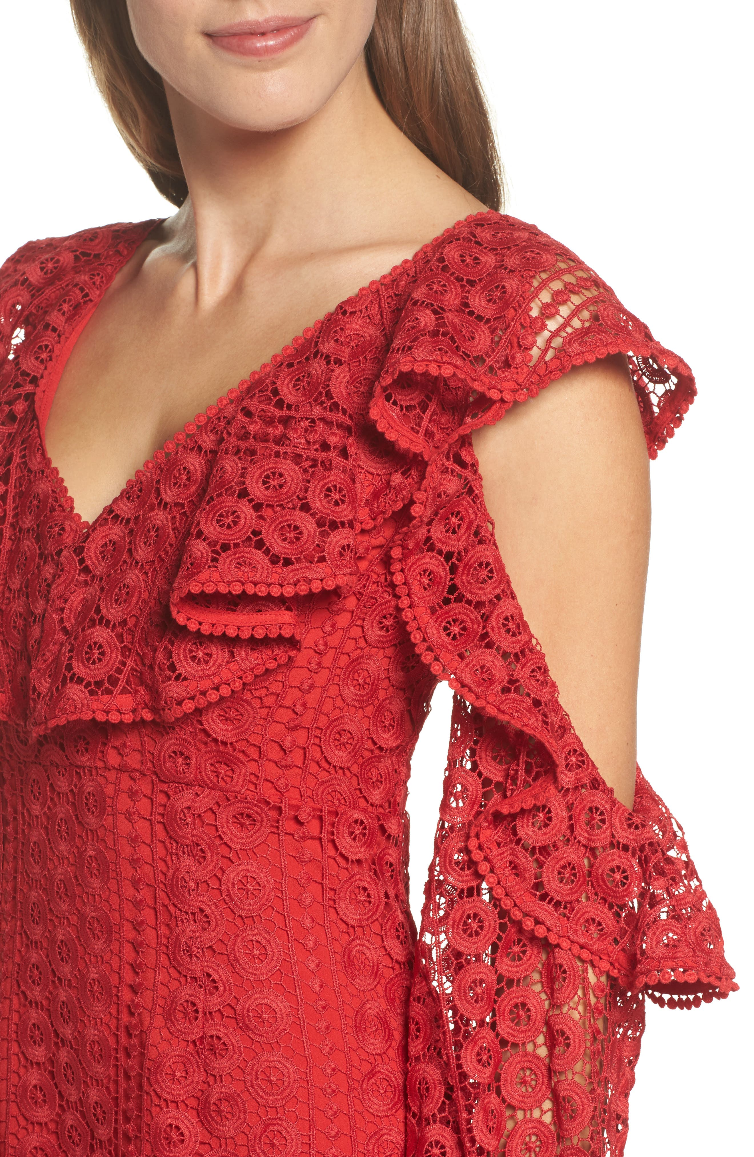 Massey Lace Cold Shoulder Minidress,                             Alternate thumbnail 4, color,                             625