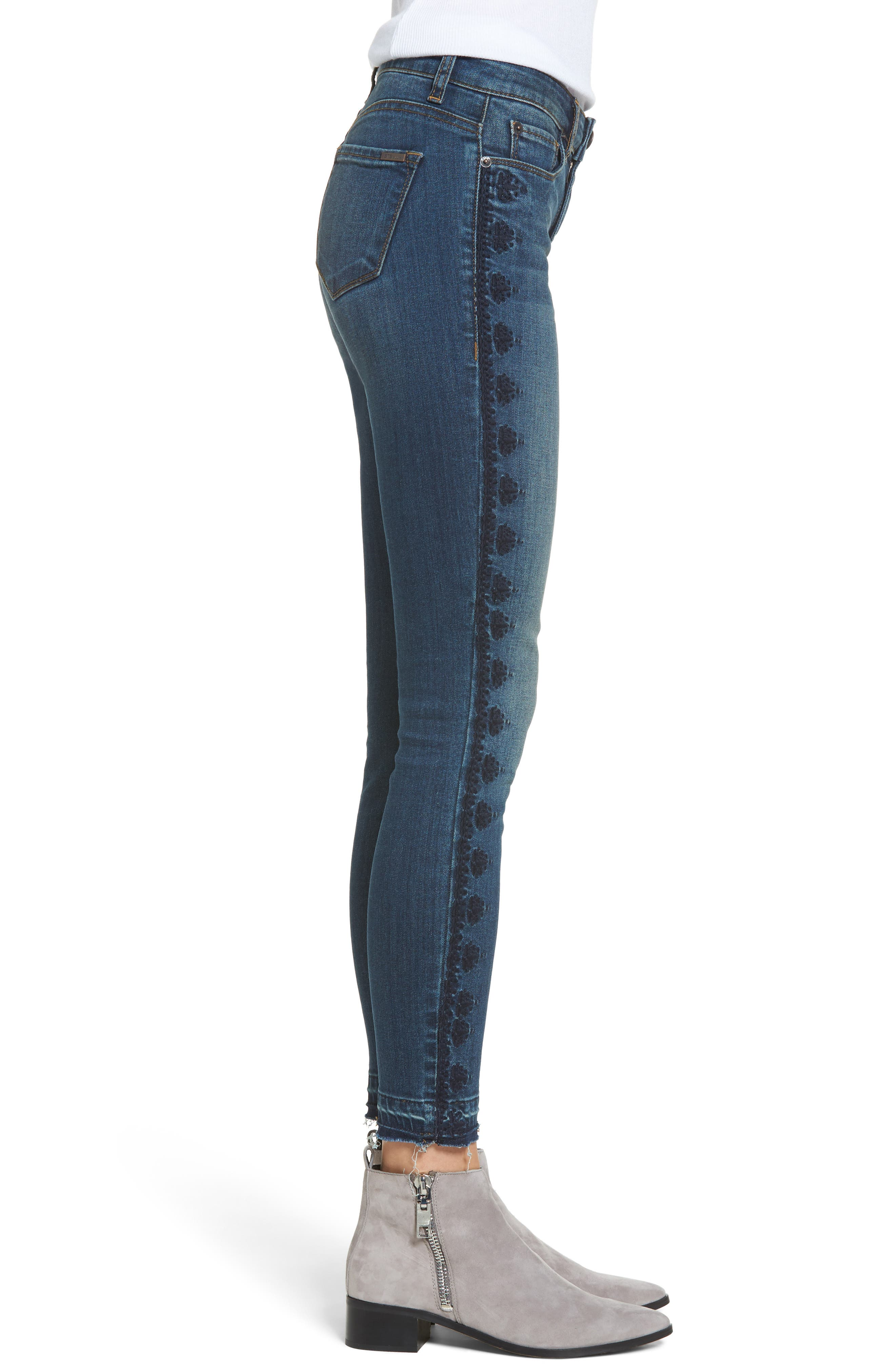 Emma Embroidered Skinny Ankle Jeans,                             Alternate thumbnail 3, color,
