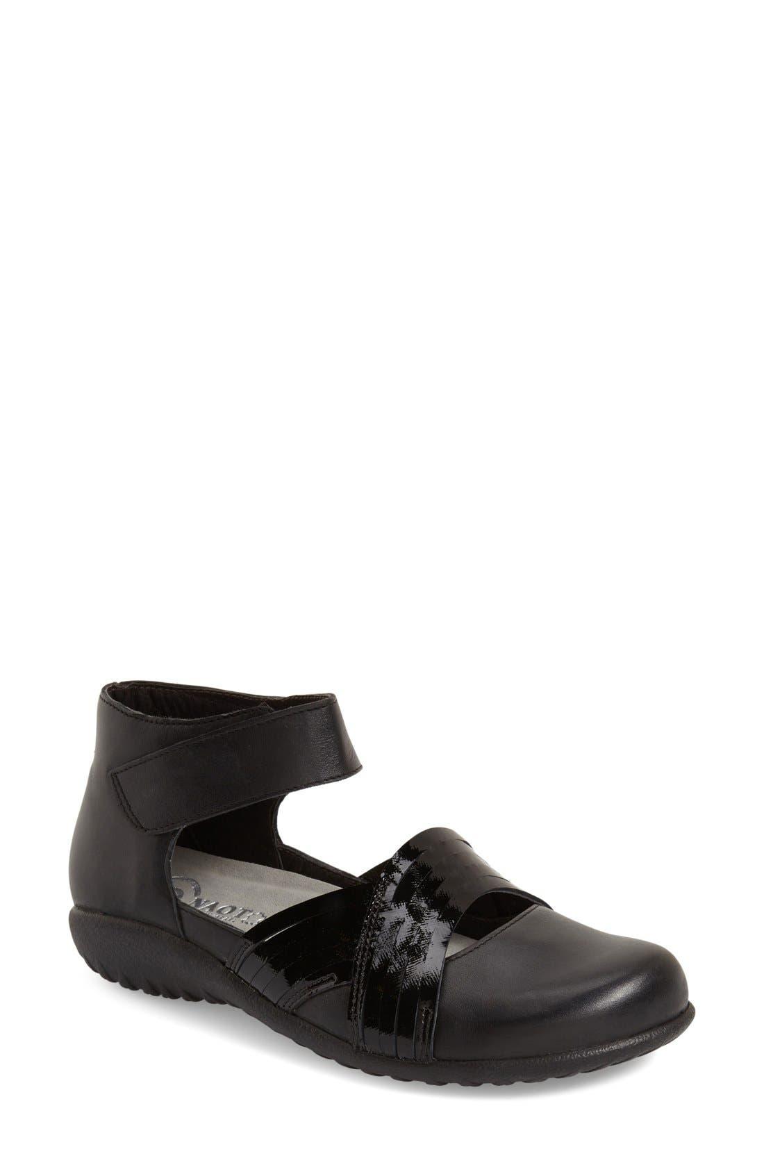 'Tenei' Ankle Strap Flat,                         Main,                         color, BLACK RAVEN LEATHER