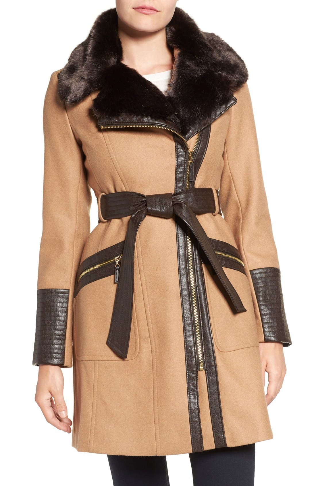 Faux Leather & Faux Fur Trim Belted Wool Blend Coat,                             Main thumbnail 6, color,