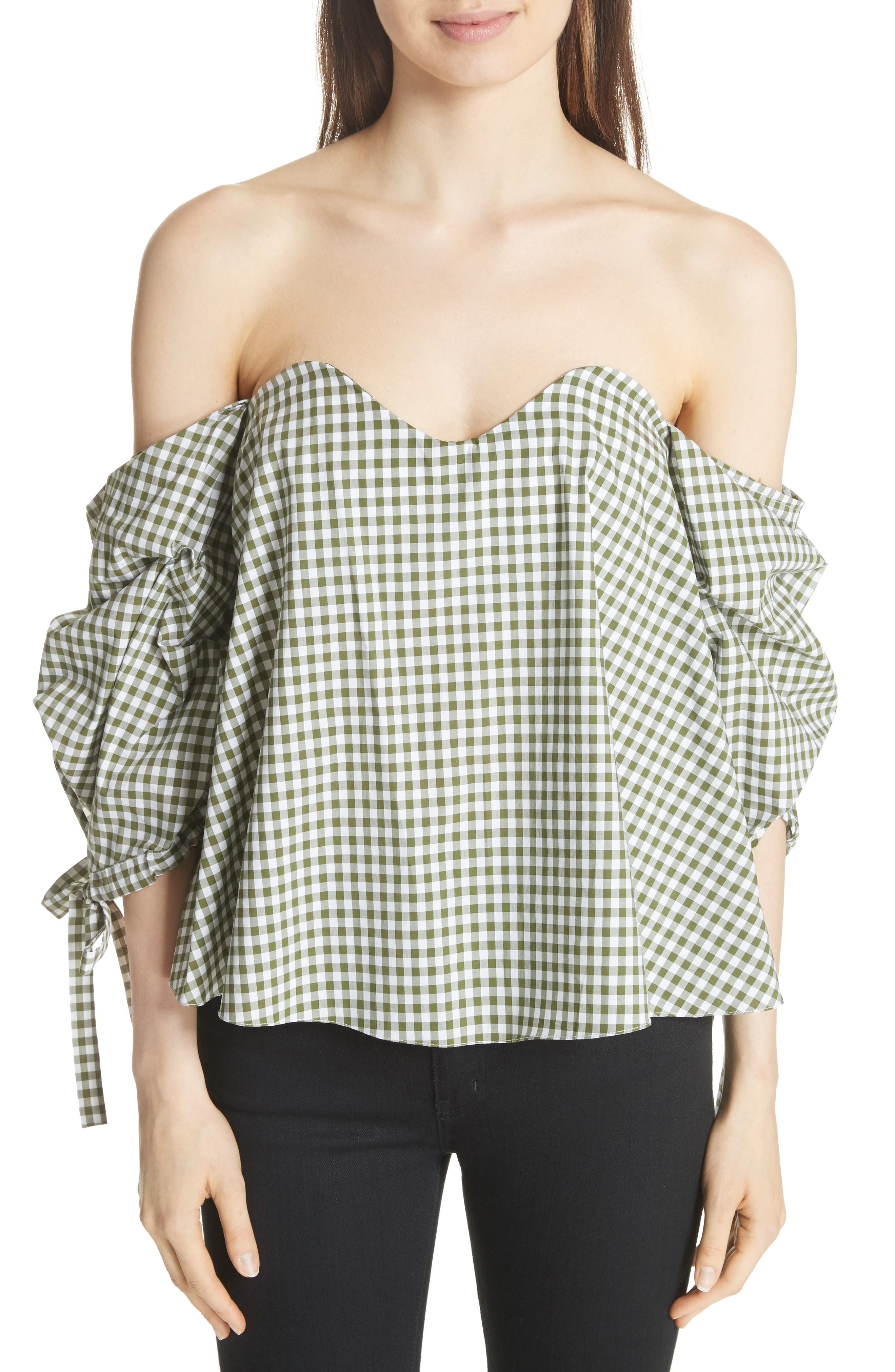 Gabriella Gingham Off the Shoulder Top,                             Main thumbnail 1, color,                             365