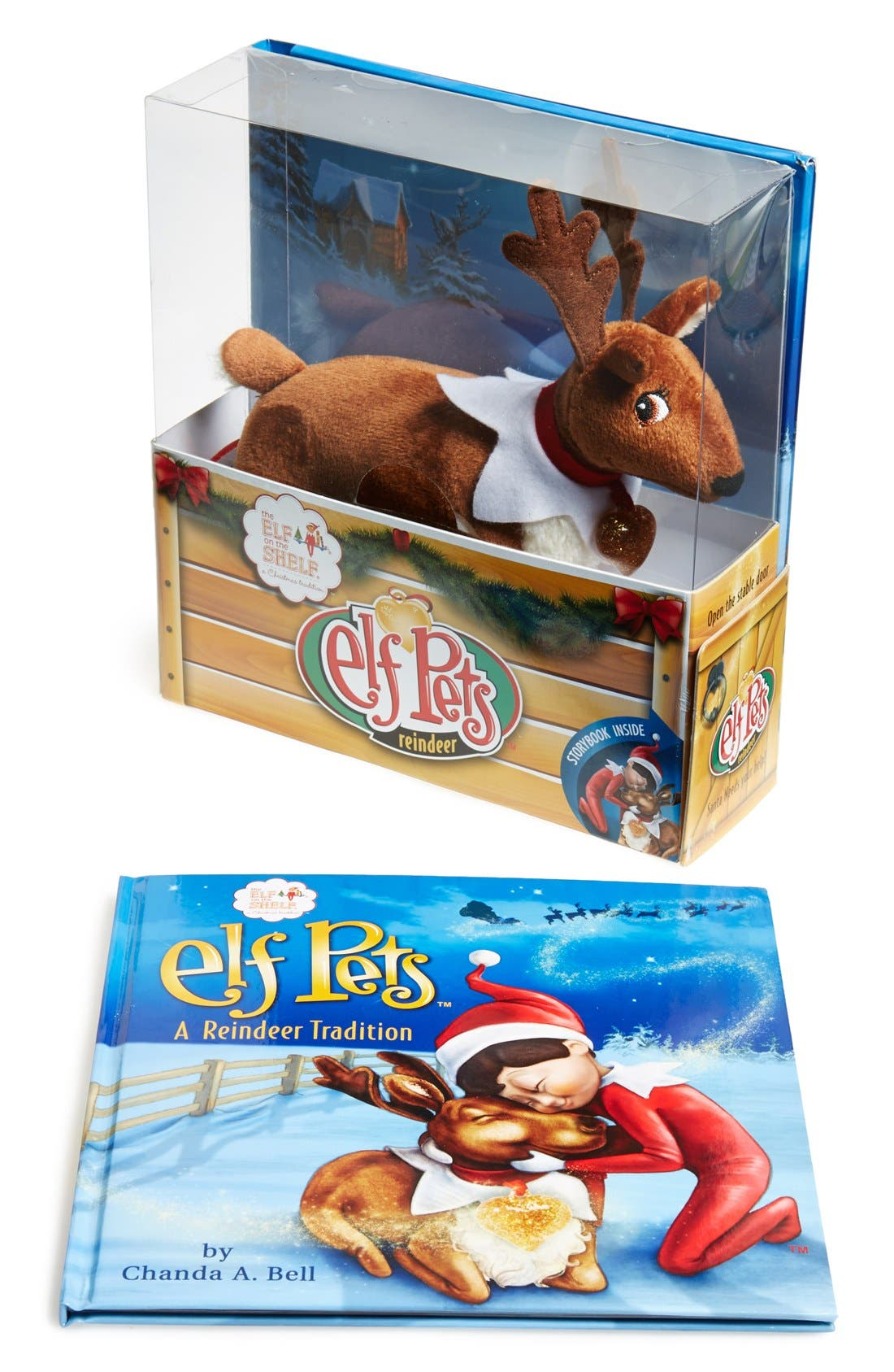 'Elf Pets' Reindeer & Book,                             Main thumbnail 1, color,                             BROWN