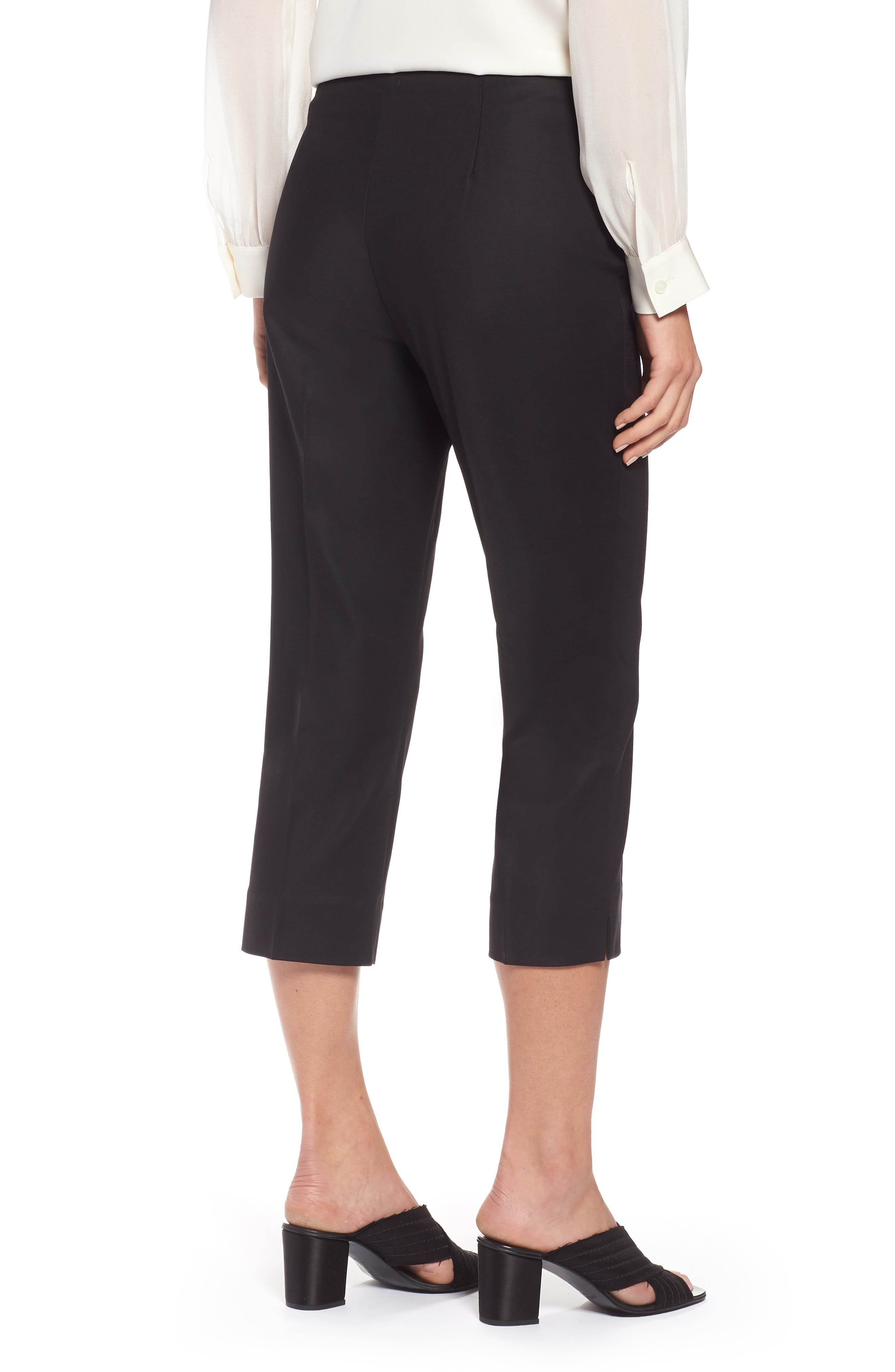 NIC+ZOE,                             Perfect Side Zip Crop Pants,                             Alternate thumbnail 2, color,                             BLACK ONYX