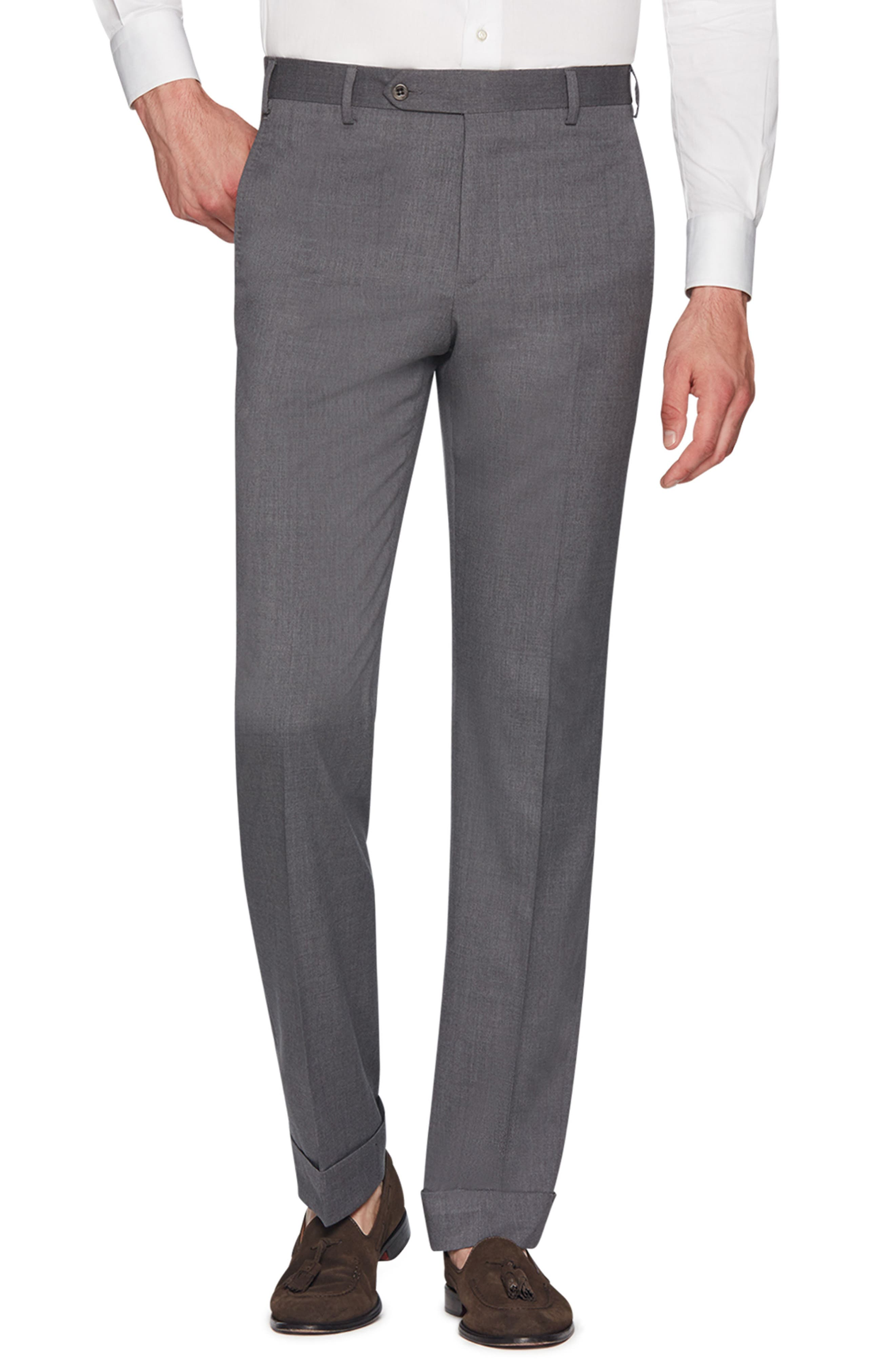 Devon Flat Front Stretch Solid Wool Trousers,                             Main thumbnail 1, color,                             LIGHT GREY