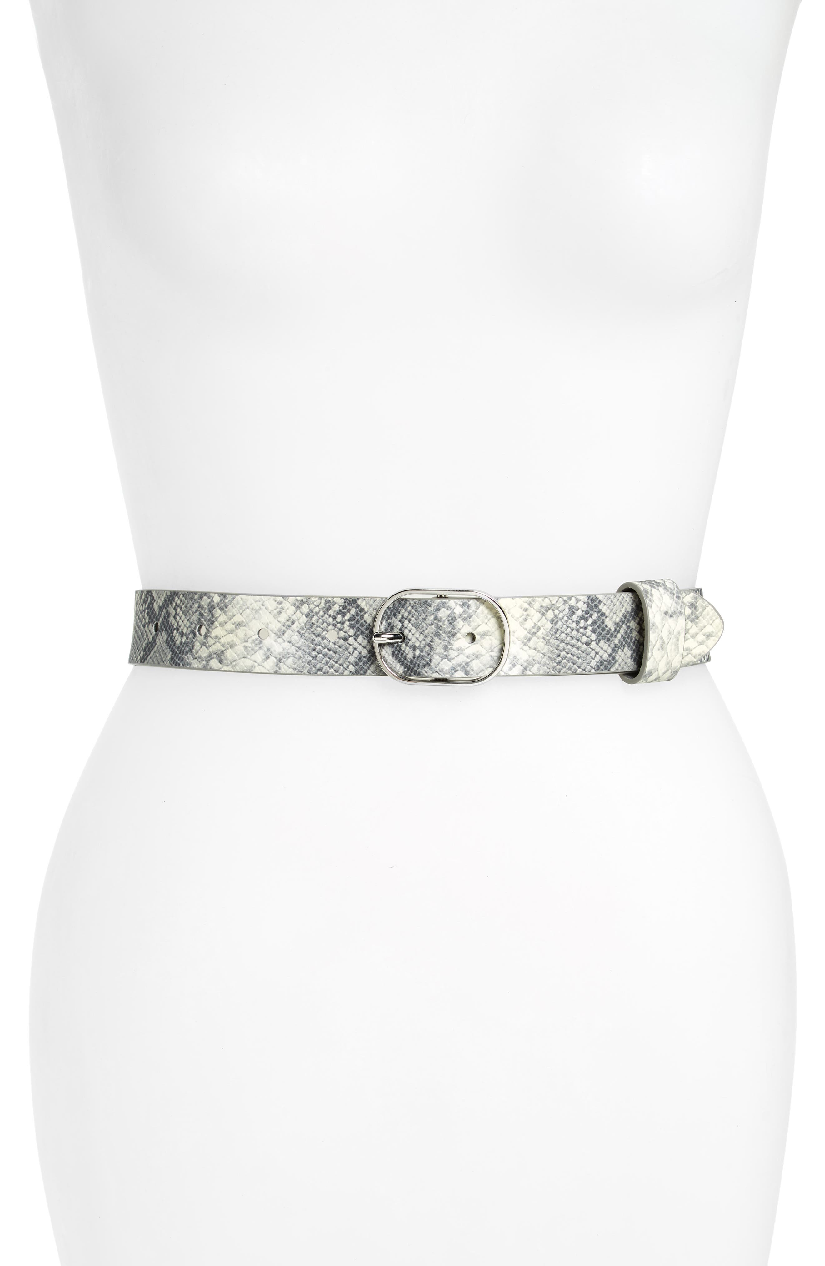 Snakeskin Embossed Faux Leather Belt,                             Main thumbnail 1, color,                             GREY